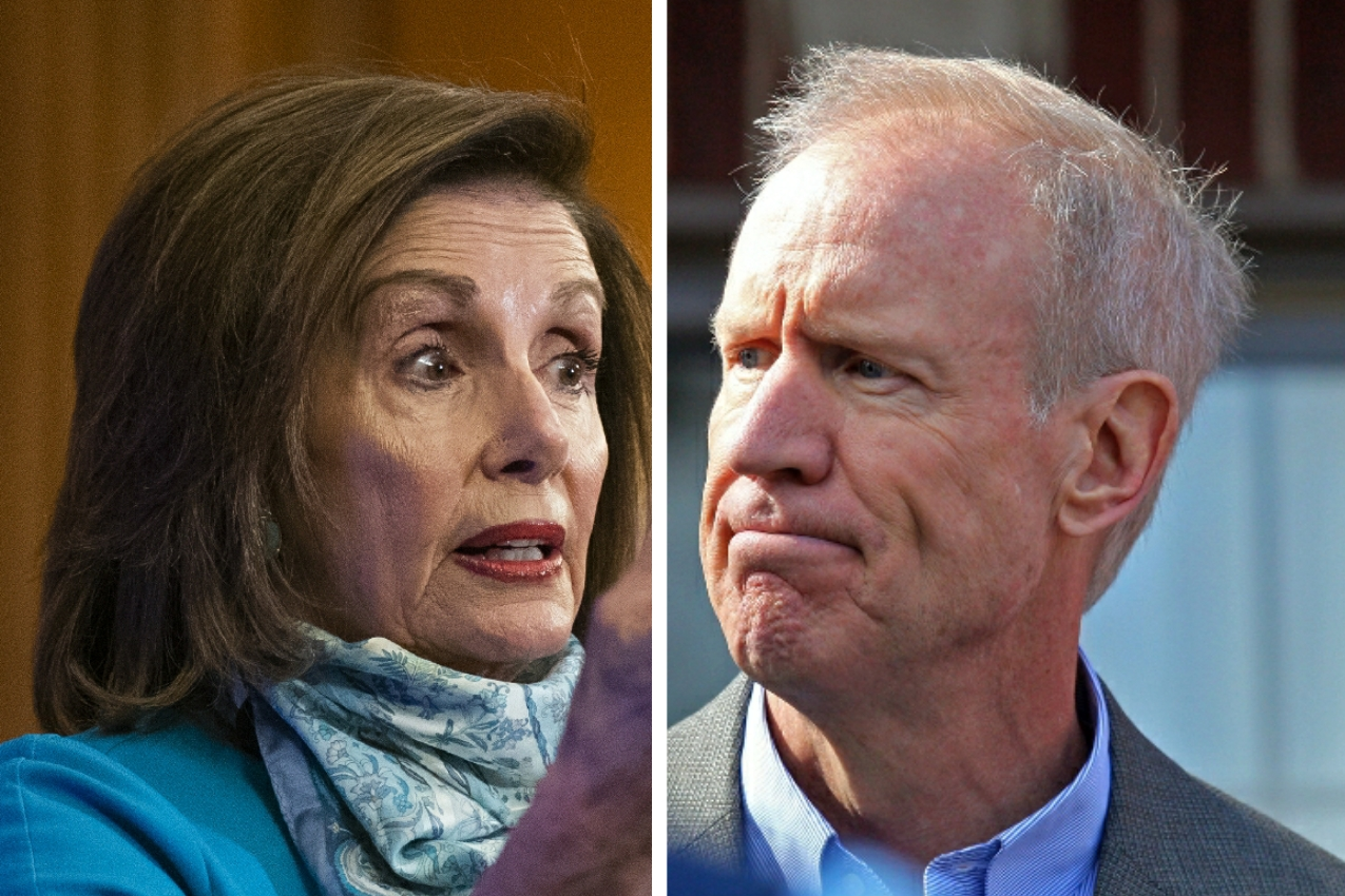 House Speaker Nancy Pelosi, left, speaks during a news conference on Capitol Hill on Thursday; Gov. Bruce Rauner, right, during a campaign event in 2018.