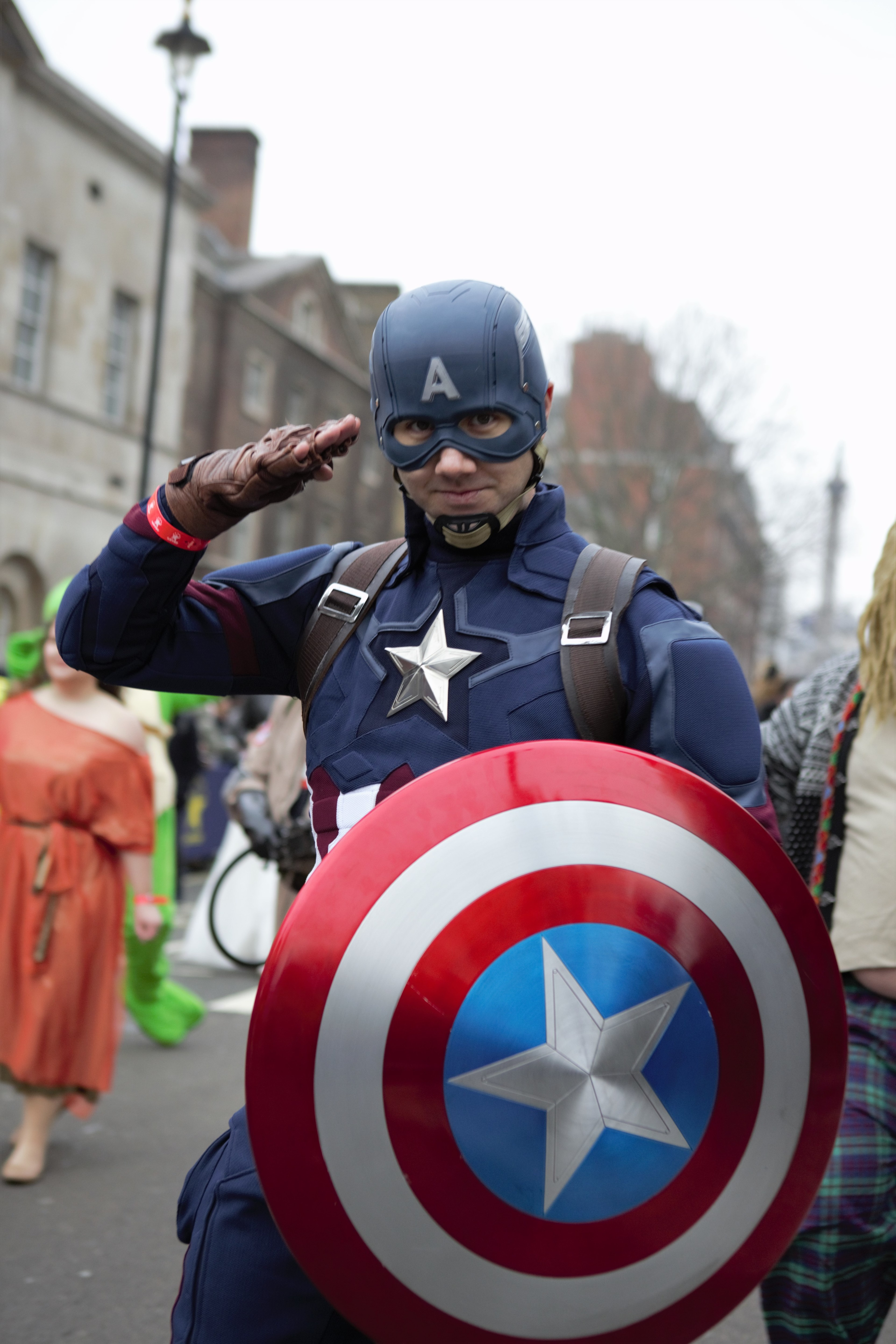 Captain America performer takes part during the parade. The...