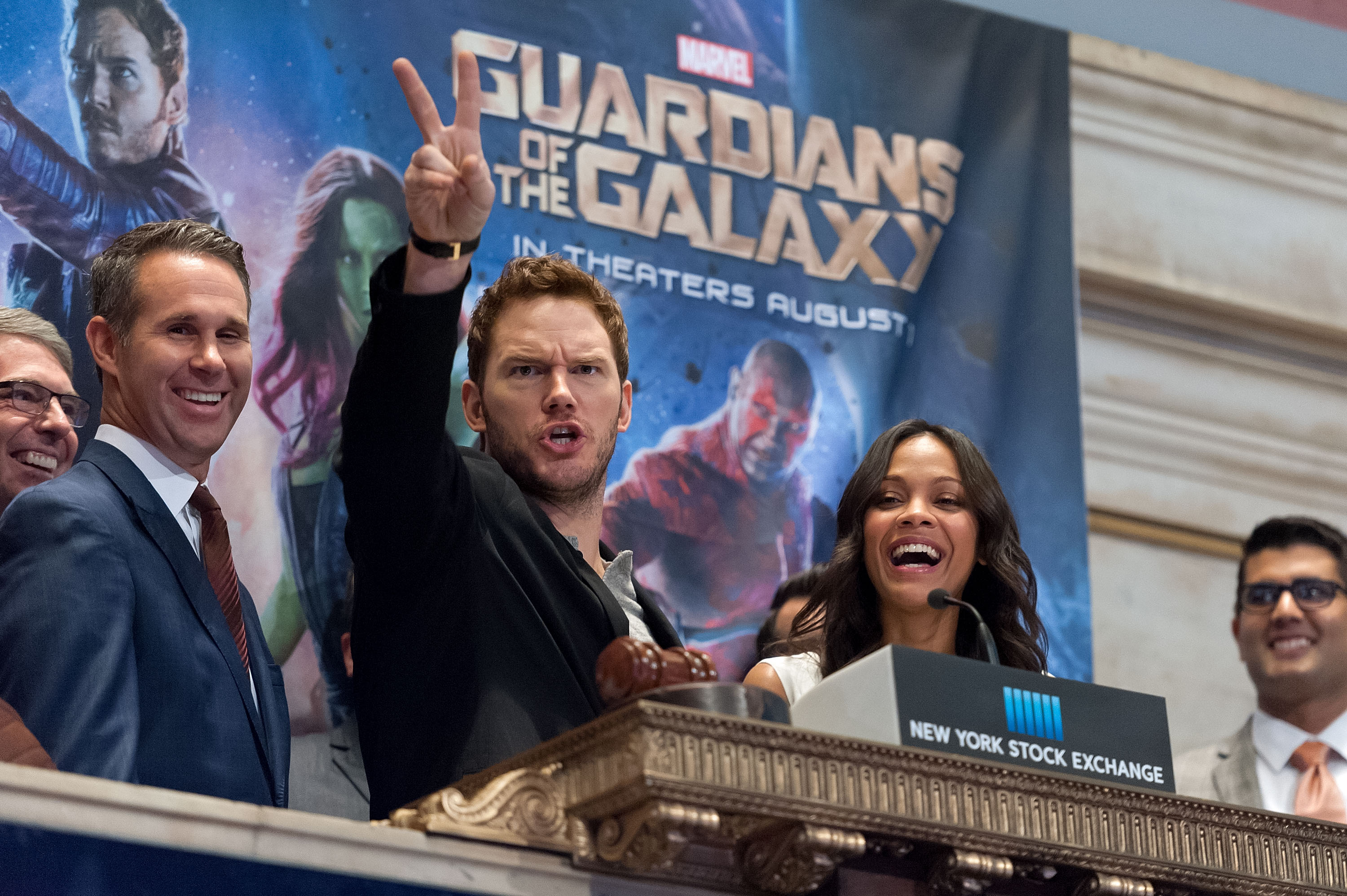 """""""Guardians Of The Galaxy"""" Cast Ring The New York Stock Exchange Opening Bell"""