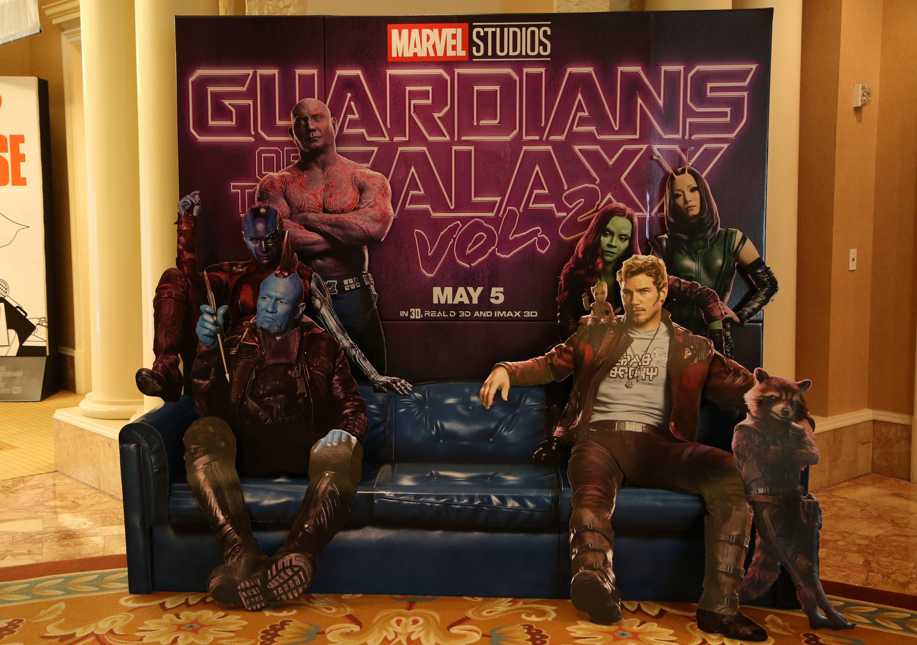 """LAS VEGAS, NV - MARCH 27: An advertisement for the upcoming movie """"Guardians of the Galaxy Vol. 2"""" is displayed at CinemaCon at Caesars Palace on March 27, 2017 in Las Vegas, United States."""