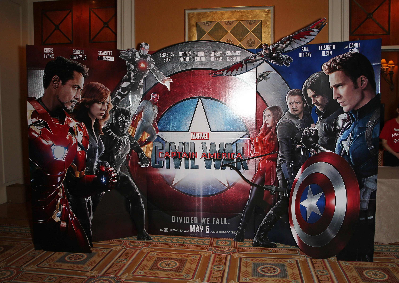 "LAS VEGAS, NEVADA - APRIL 11: A display for the movie ""Captain America: Civil War"" at CinemaCon at Caesars Palace on April 11, 2016 in Las Vegas, Nevada."