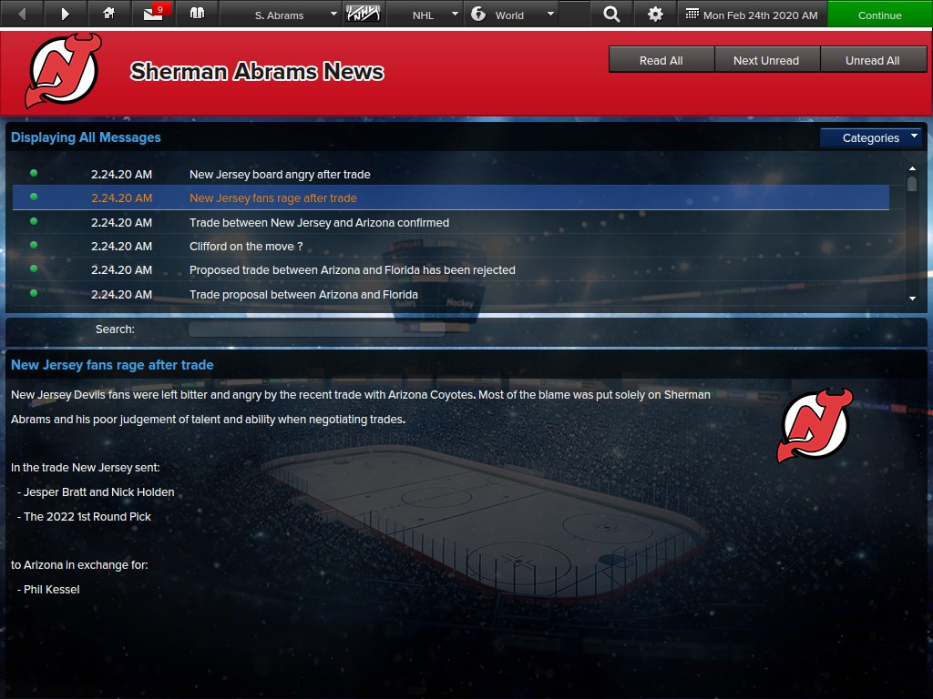 The fans in the EHM game were not happy with Abrams' biggest deal.