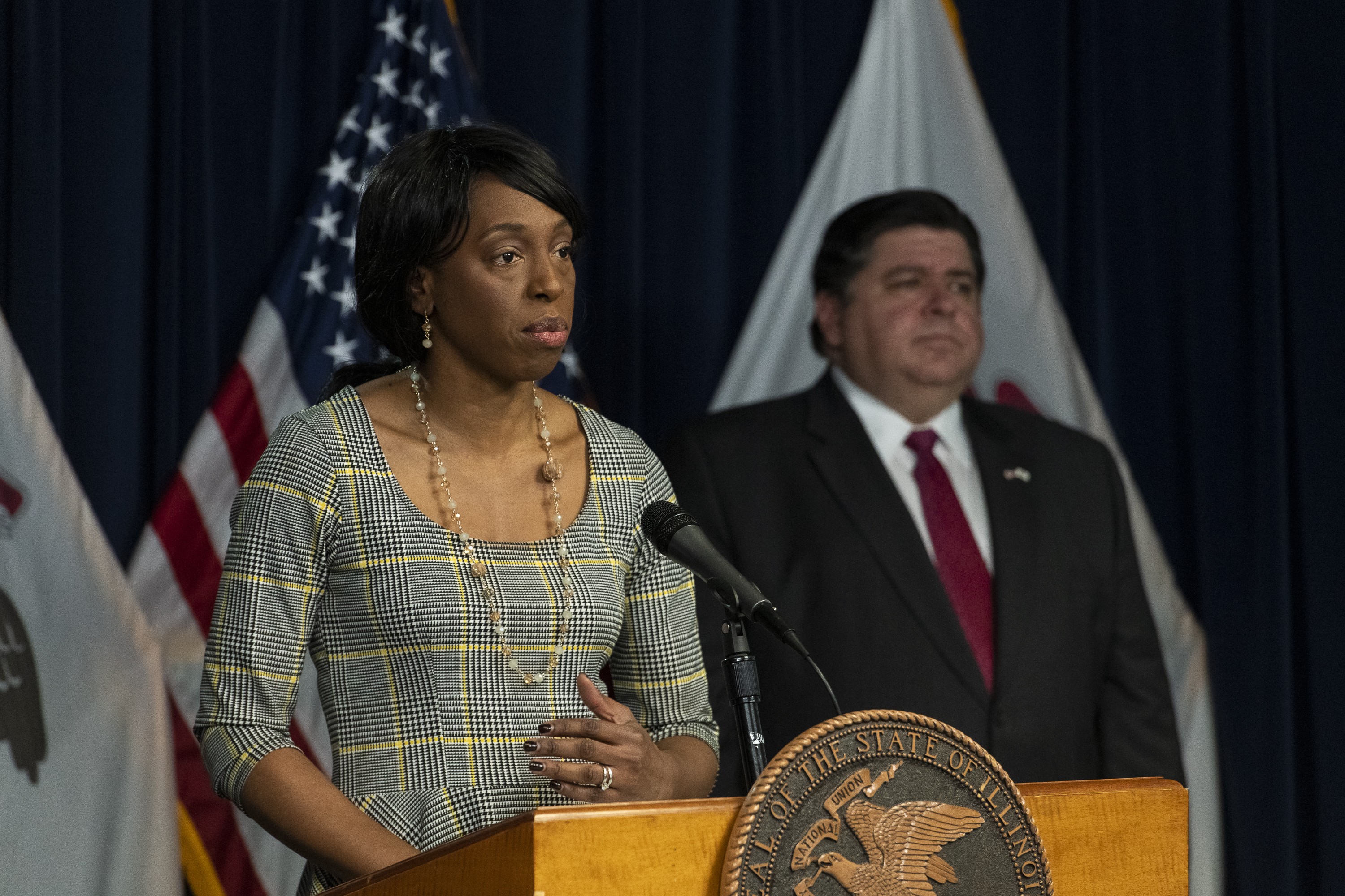 Dr. Ngozi Ezike, director of the Illinois Department of Public Health, speaks during Gov. J.B. Pritzker's daily coronavirus news conference at the Thompson Center in Chicago, Friday, April 17, 2020.   Tyler LaRiviere/Sun-Times