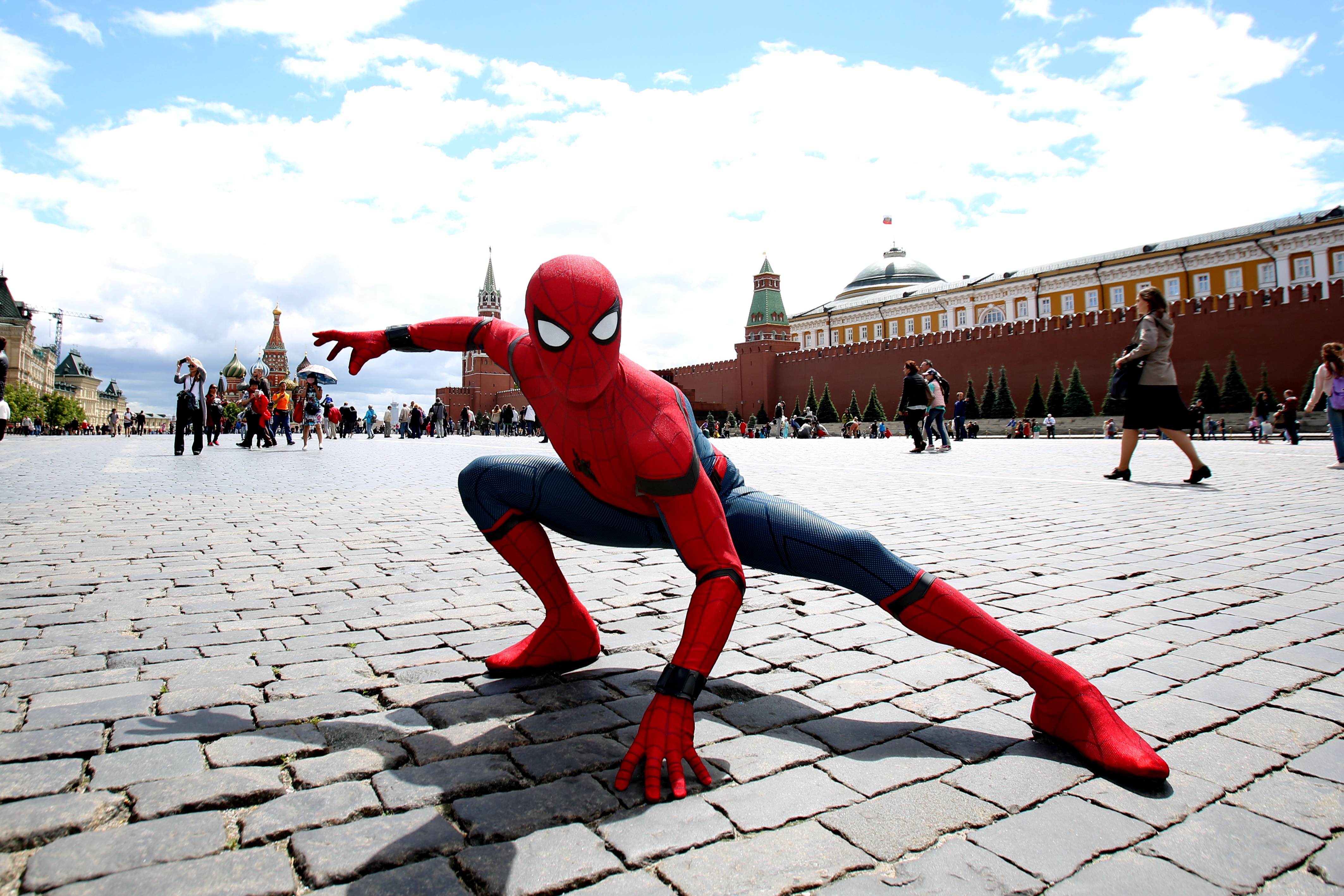 MOSCOW, RUSSIA - JUNE 21: Actor dressed in the authentic spider-man costume poses for a picture on the Red Square to support Spider-Man: Homecoming on June 21, 2017 in Moscow, Russia.