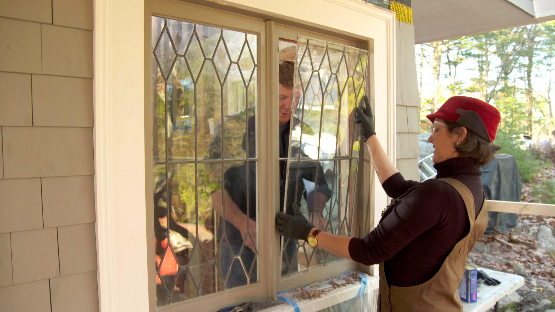 Repairing leaded glass windows.