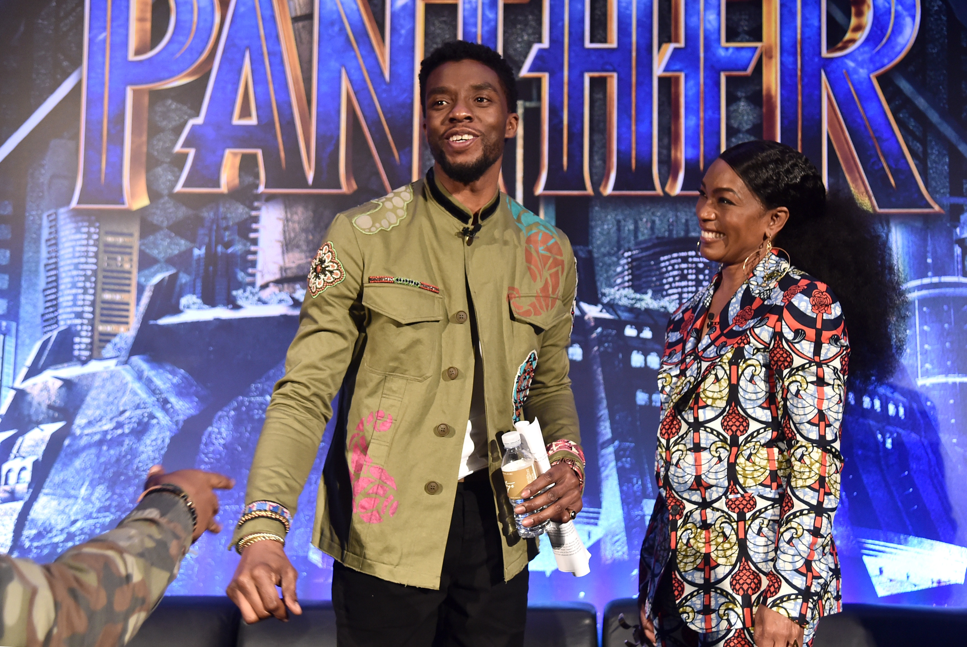 BEVERLY HILLS, CA - JANUARY 30: Actors Chadwick Boseman (L) and Angela Bassett attend the Marvel Studios' BLACK PANTHER Global Junket Press Conference on January 30, 2018 at Montage Beverly Hills in Beverly Hills, California.