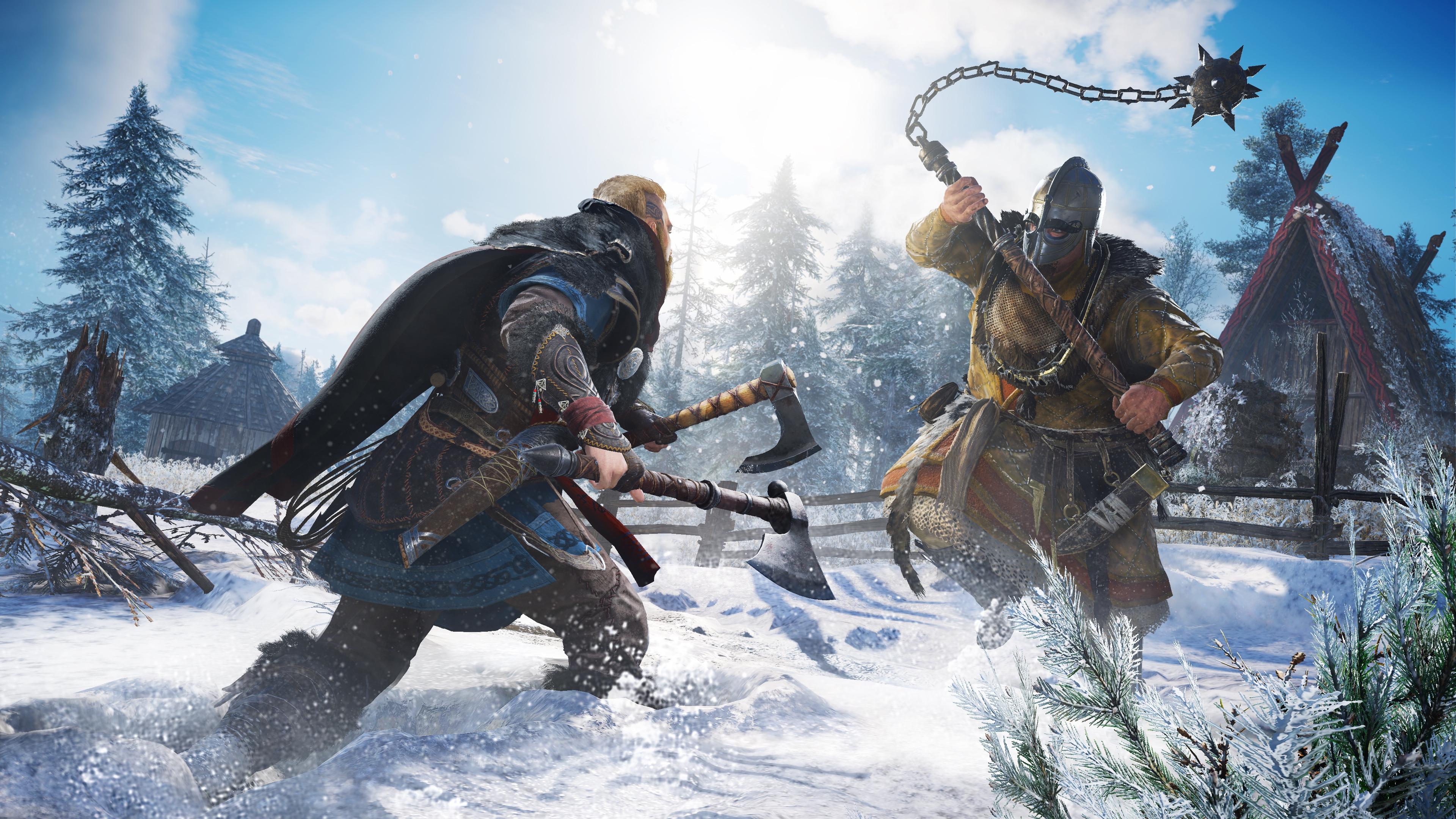 Viking raider Eivor battles an enemy warrior in a snowy setting from Assassin's Creed Valhalla