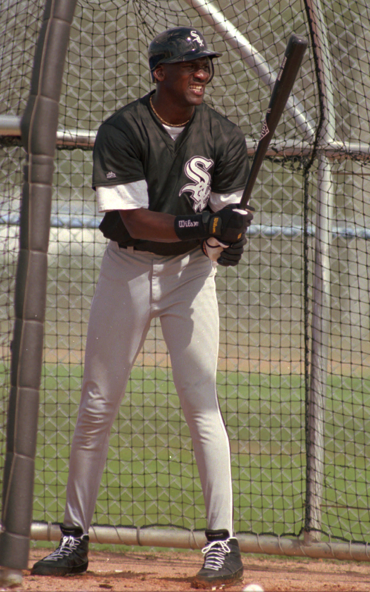 Michael Jordan works on his batting on the first day of White Sox spring training camp Saturday, Feb. 18, 1995, in Sarasota, Fla.