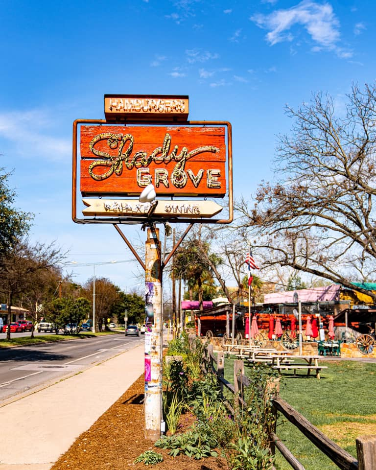 The iconic sign at Shady Grove on Barton Springs