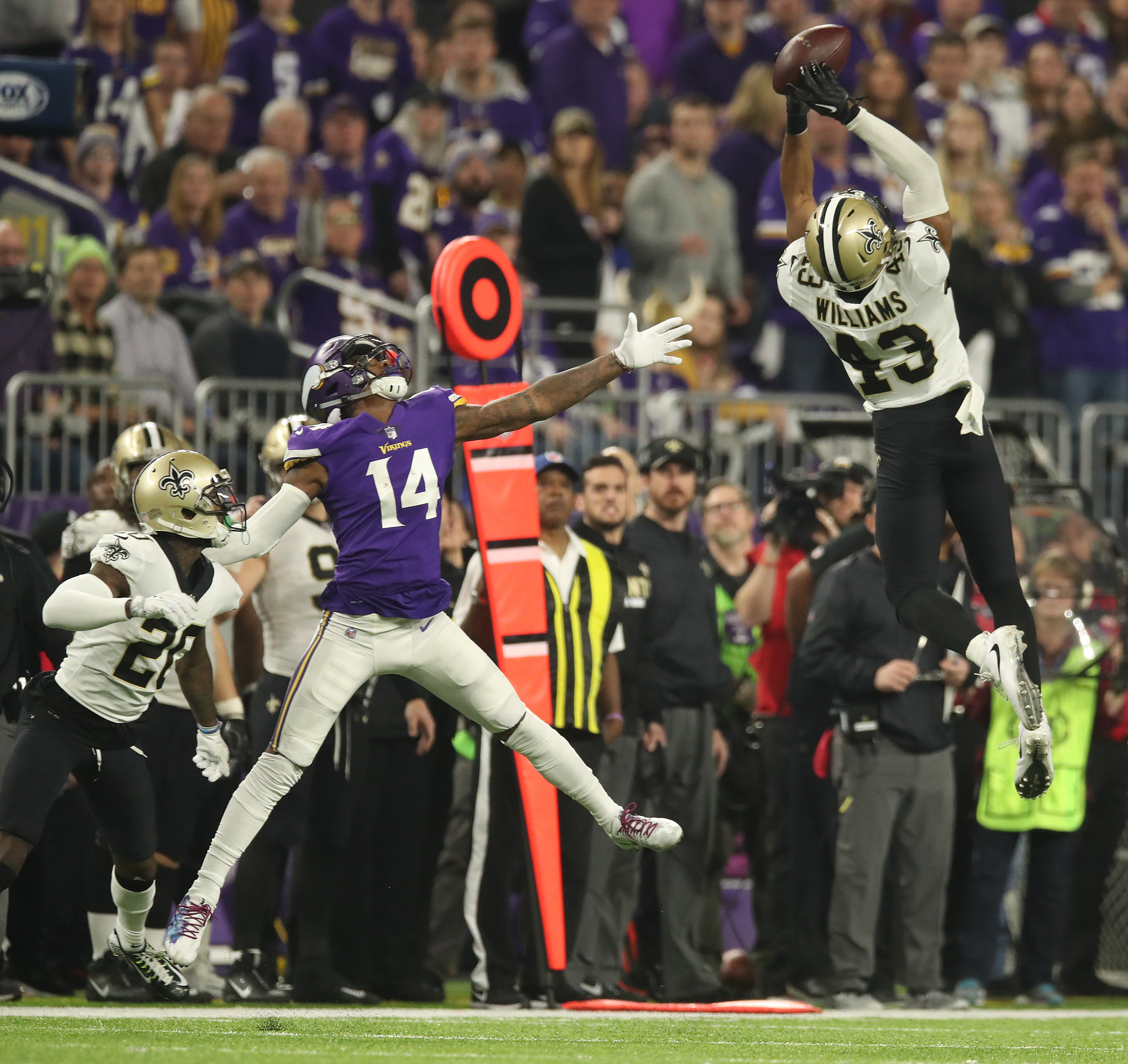 Rookie Saints free safety Marcus Williams went high to intercept a Case Keenum pass in front of Vikings wide receiver Stefon Diggs early in the third quarter. Six plays later, the Saints went 30 yards for their second touchdown. ] JERRY HOLT ï jerry.
