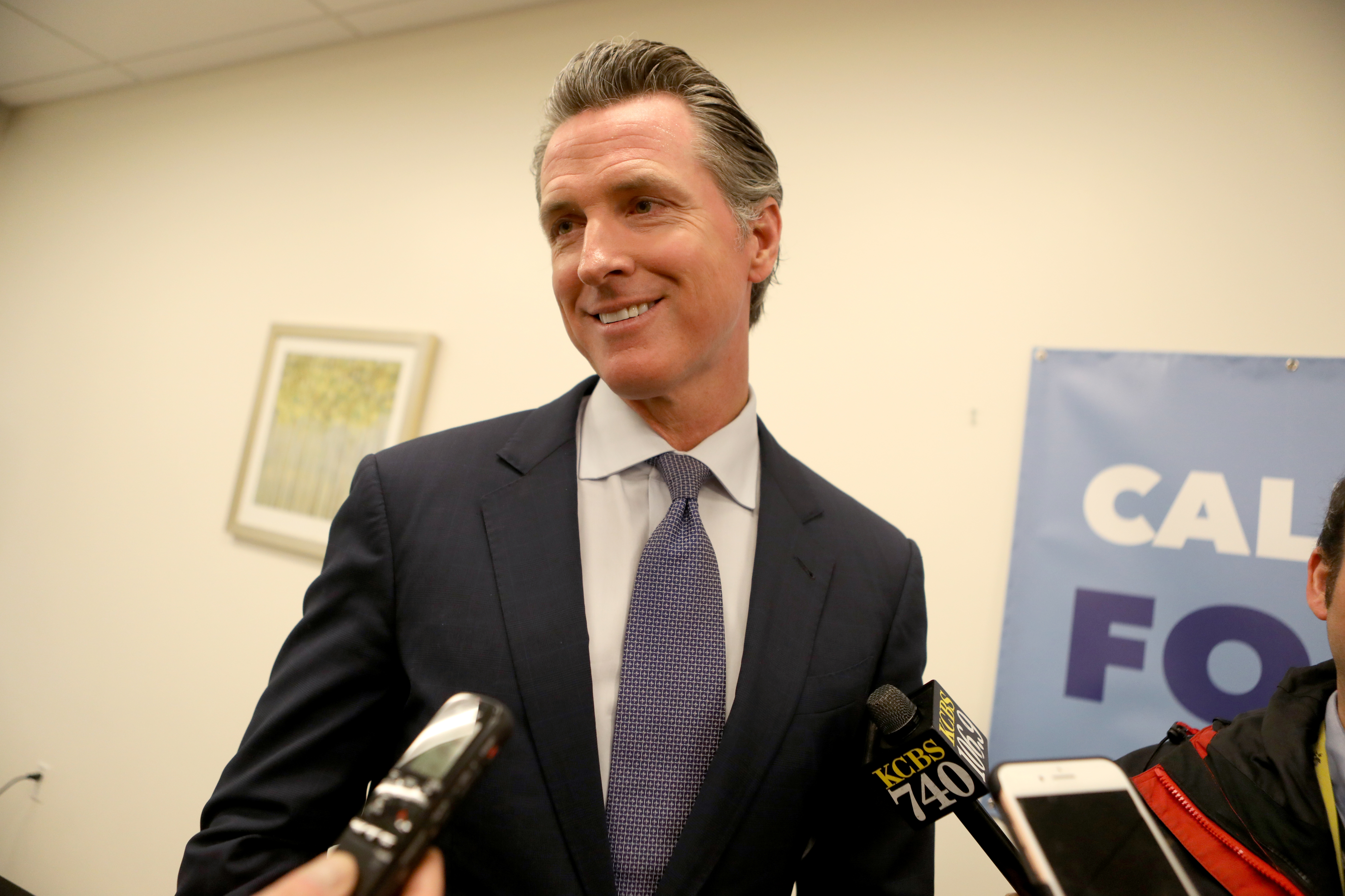 California Governor Gavin Newsom alongside San Jose Mayor Sam Liccardo host roundtable