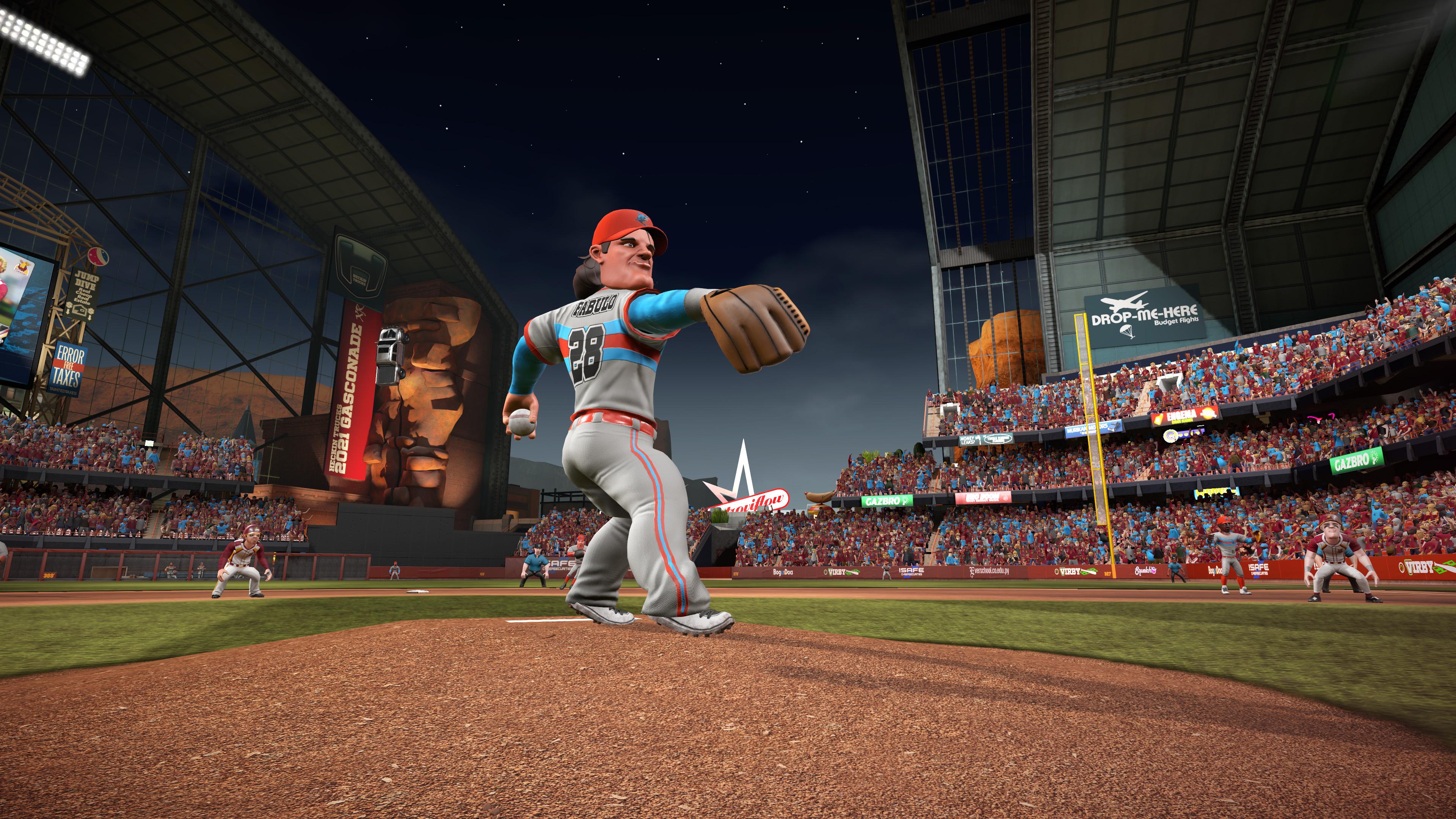 Fabio Fabulo in his windup during a night game in Super Mega Baseball 3