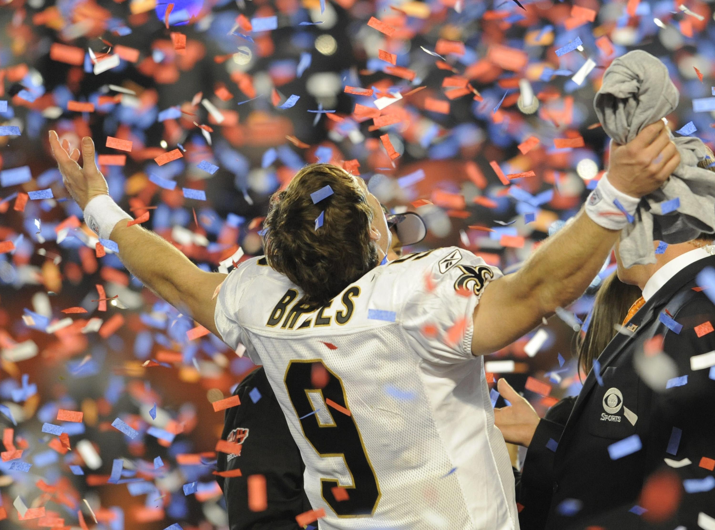 New Orleans Saints #9 Drew Brees celebra