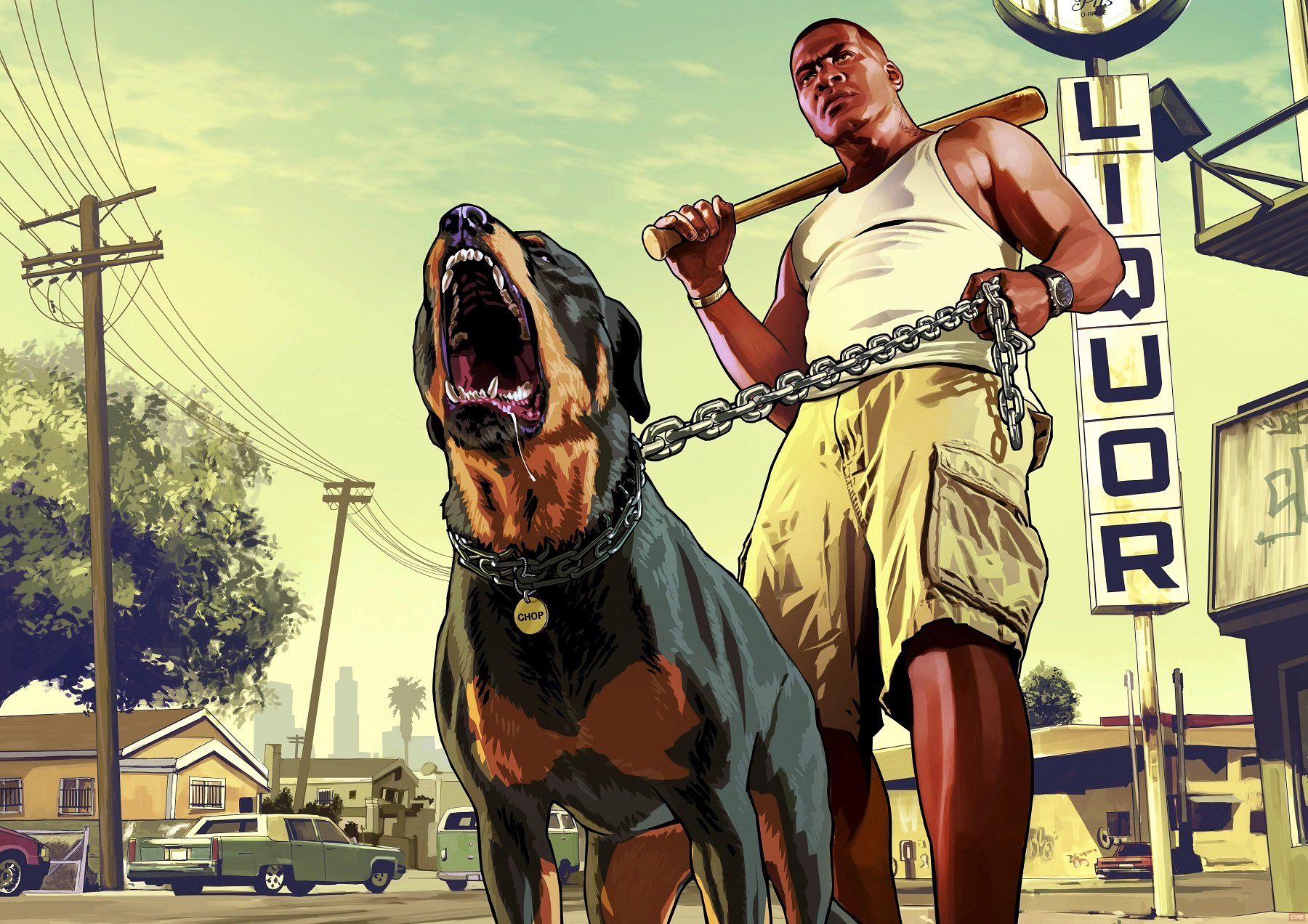 GTA 5's Franklin holding a baseball bat and a dog on a chain leash
