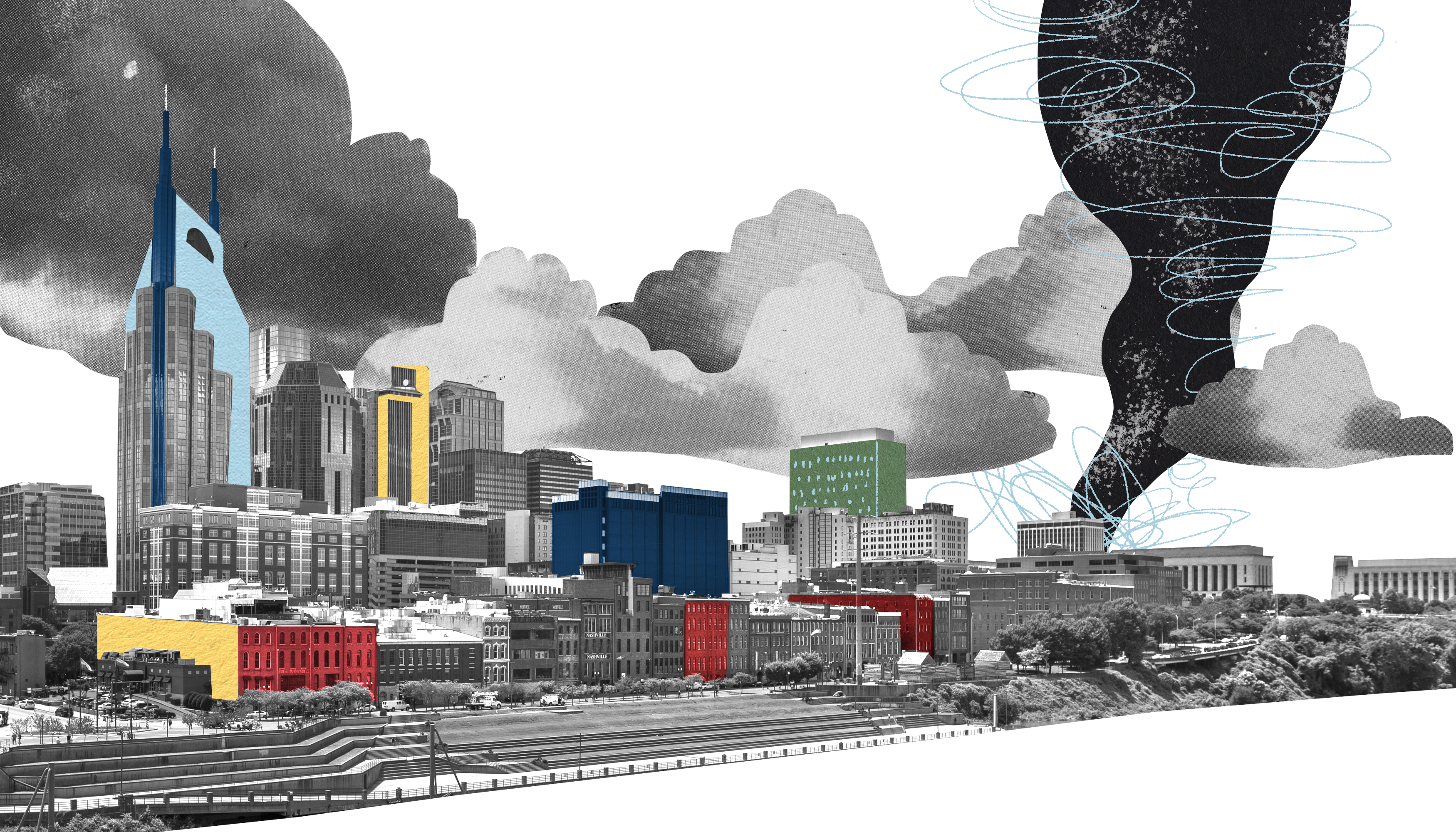 A tornado looms in the distance of a Nashville skyline. Collage/Illustration.