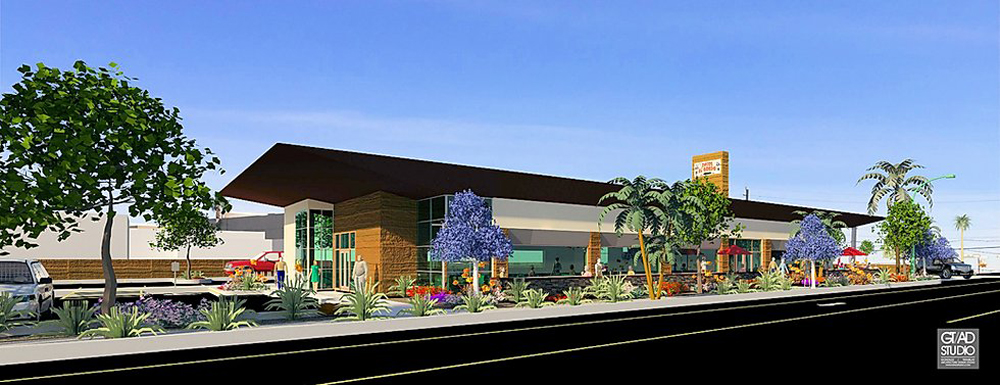 An early rendering of a new Tacos El Gordo restaurant by the GT/AD Studio design team.