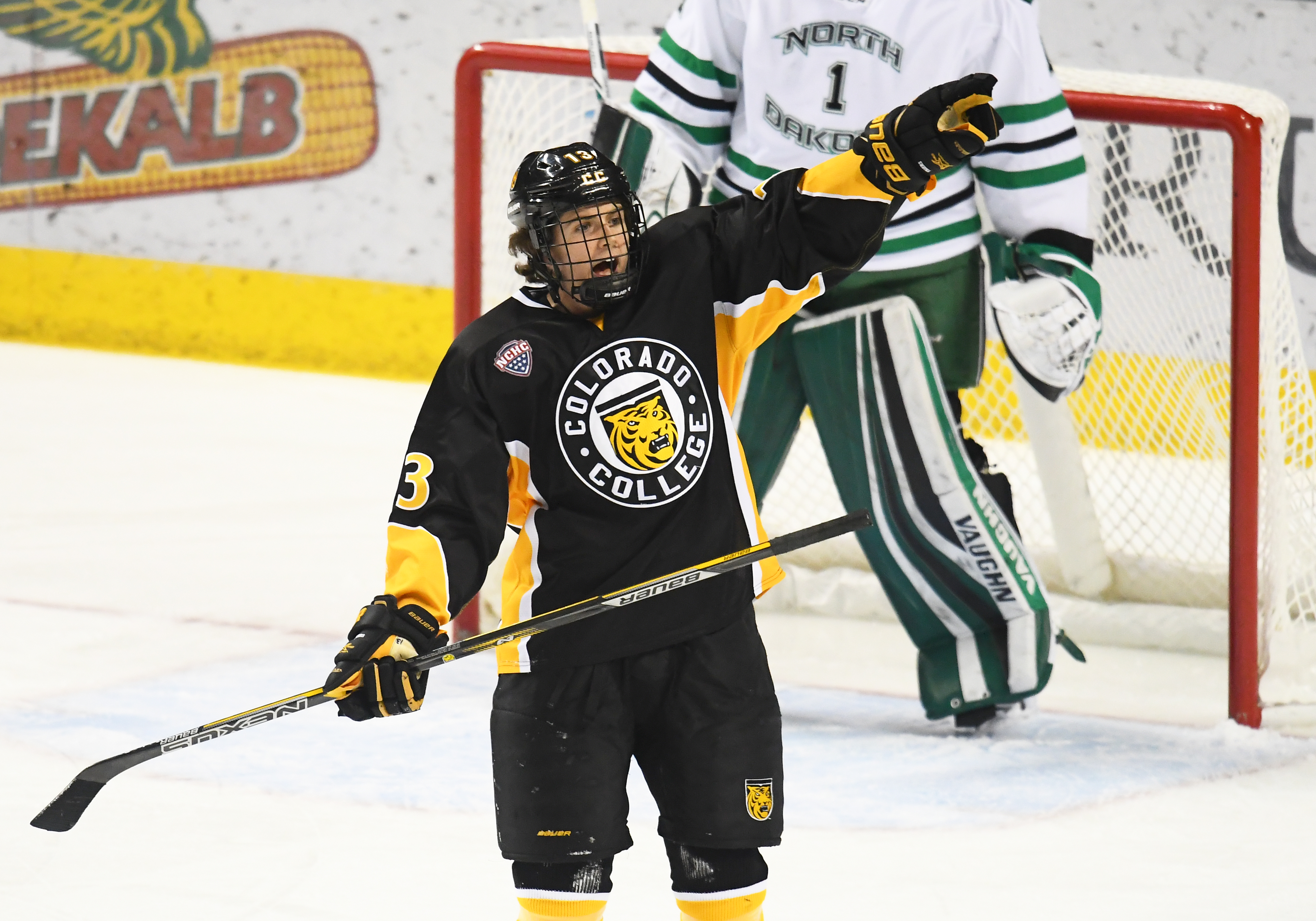 GRAND FORKS, ND - FEBRUARY 10: Colorado College Forward Nick Halloran (13) pleads his case to an official during a college hockey game between the University of North Dakota and Colorado College on February 10, 2018 at Ralph Engelstad Arena in Grand Forks, ND. North Dakota defeated Colorado College 5-1.