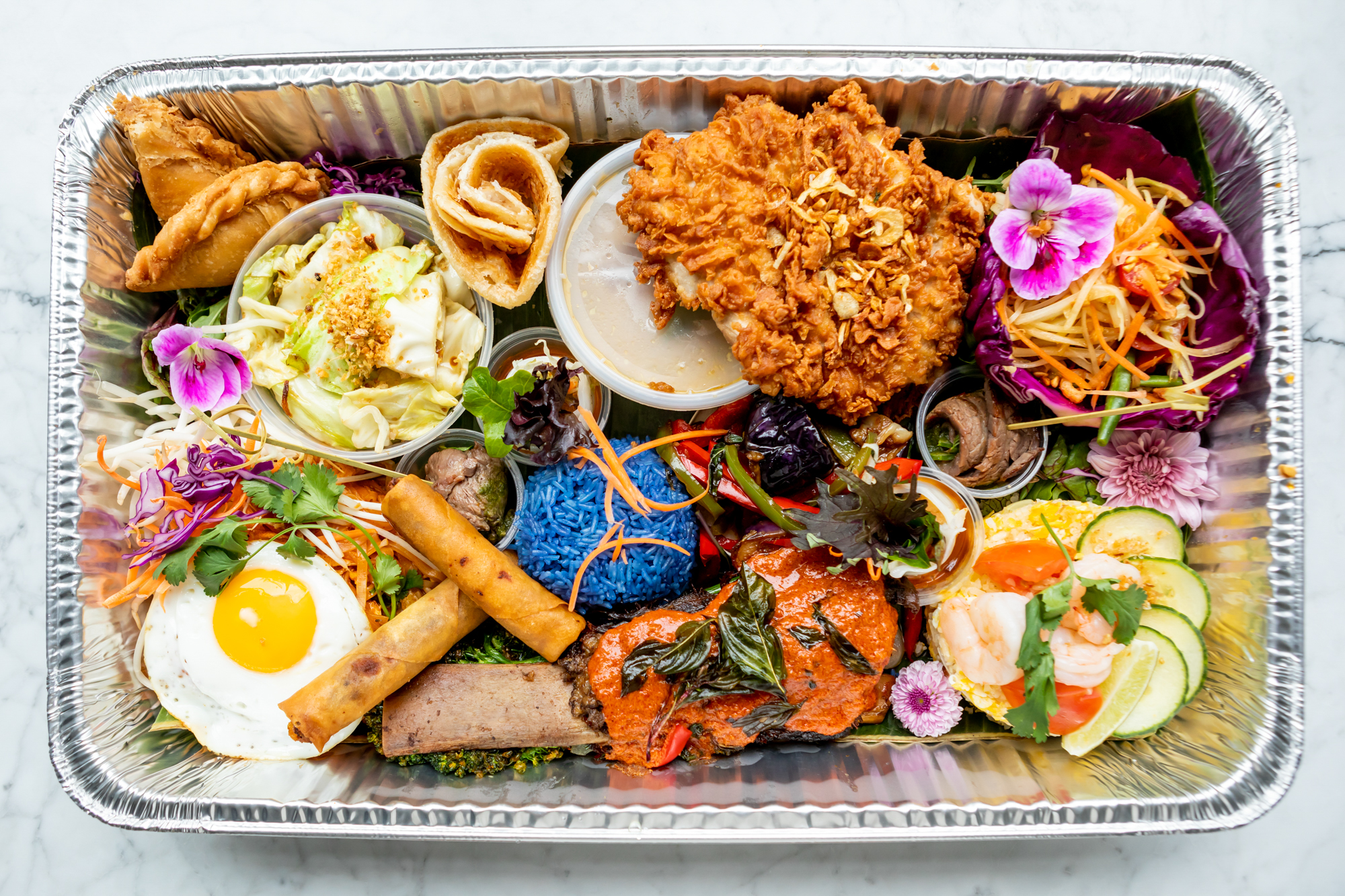"The ""Lao Table"" takeout tray from Farmhouse Kitchen Thai"