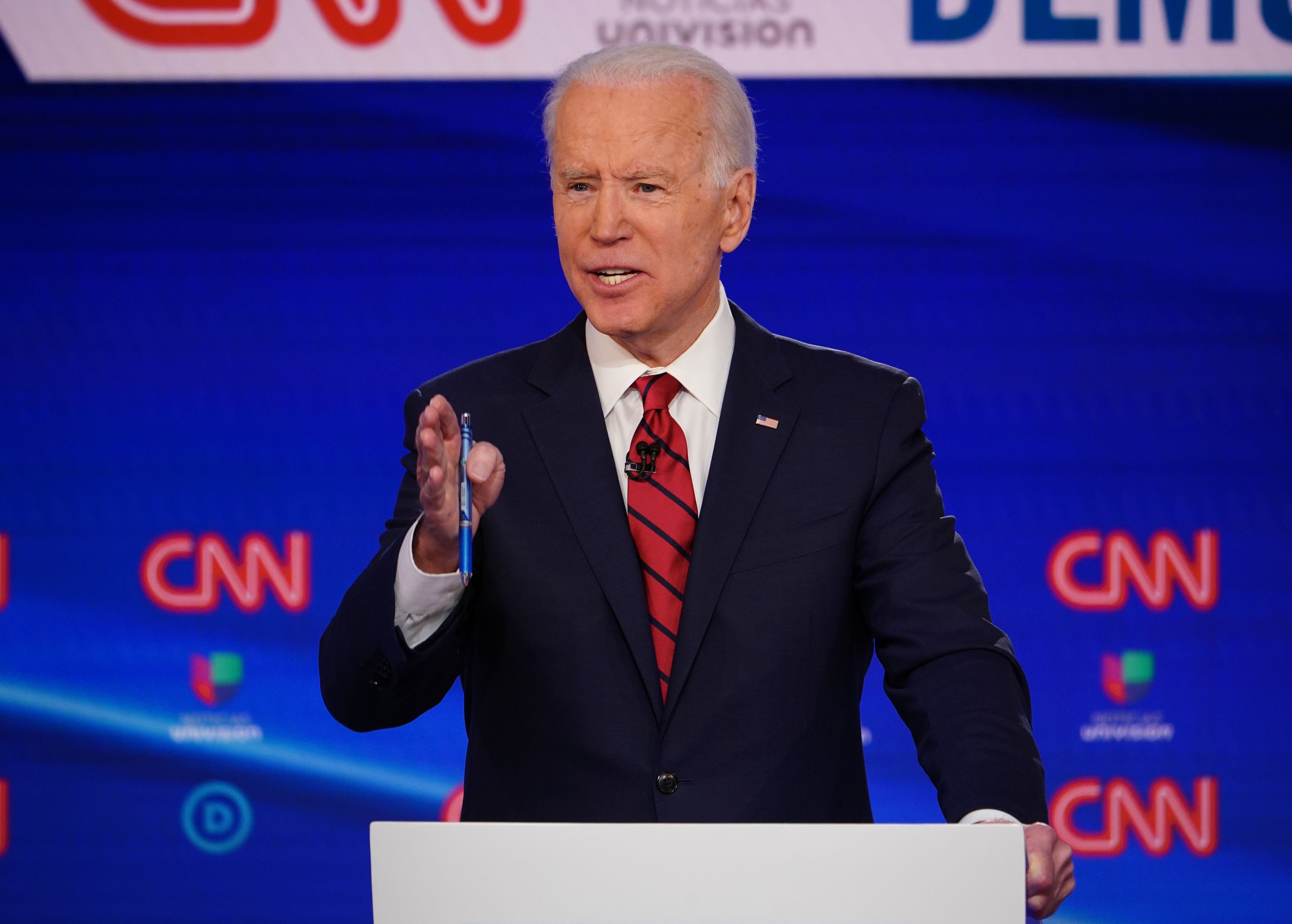 Former Vice President Joe Biden at a Democratic presidential debate.