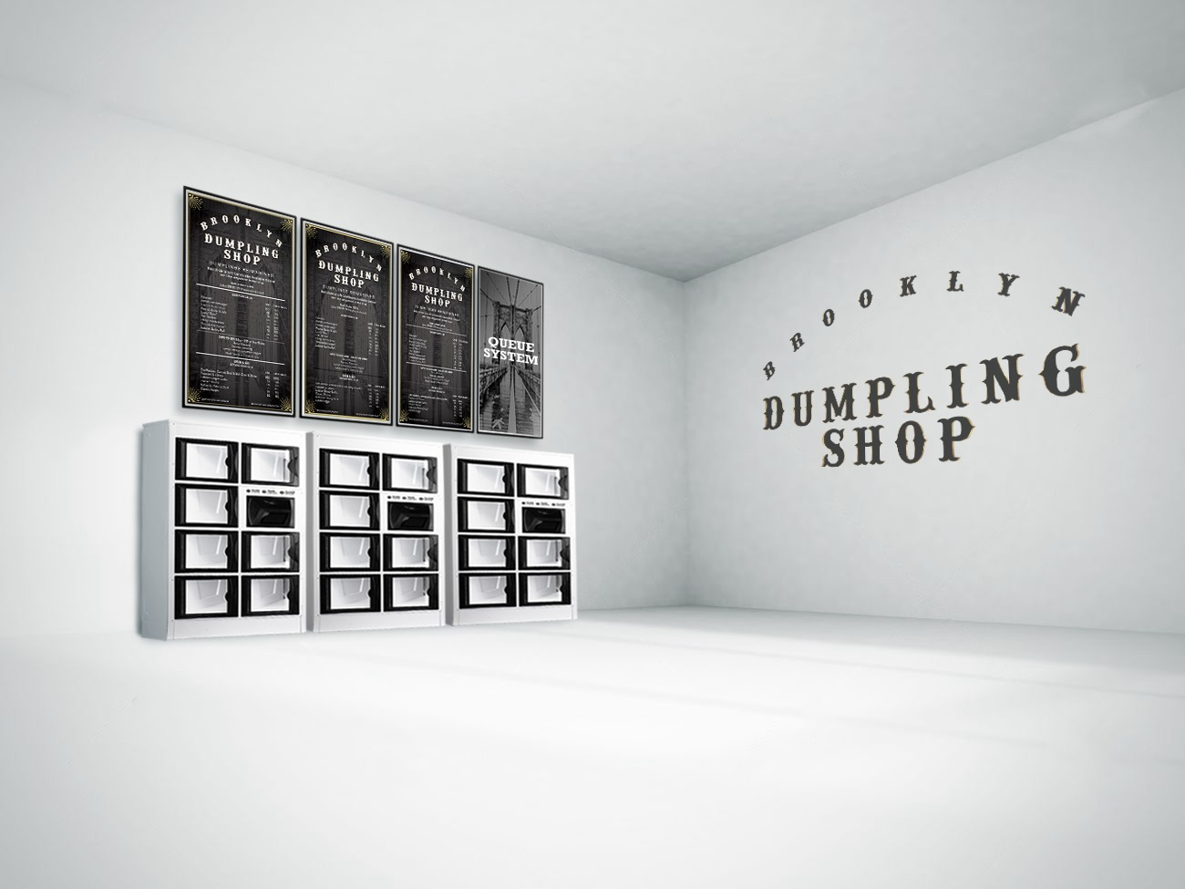 A rendering which shows stacks of glass boxes with menu boards above them