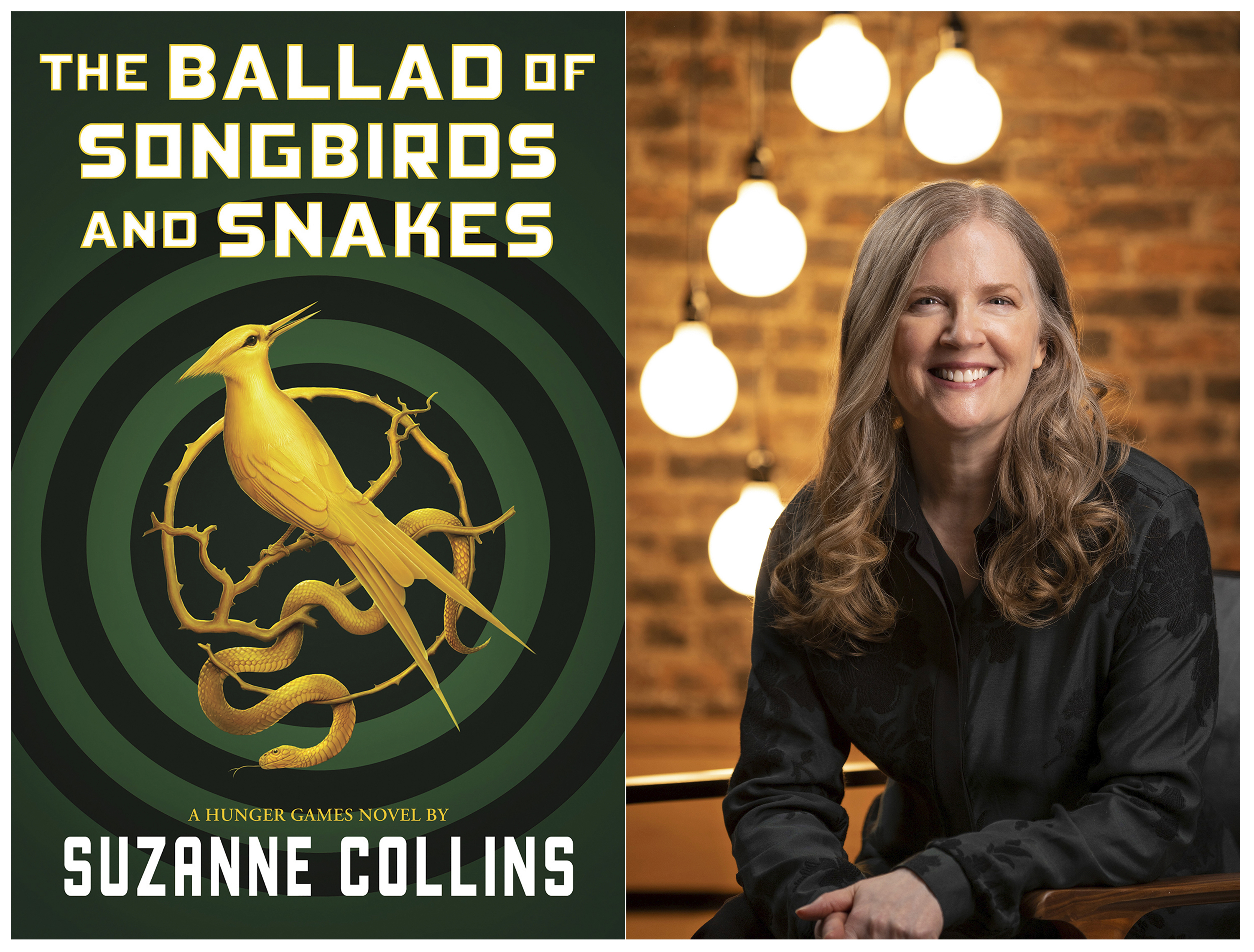 """""""The Ballad of Songbirds and Snakes,"""" by """"The Hunger Games"""" author Suzanne Collins (right) was released Tuesday, with a world-record printing for the prequel to Collins' huge-selling young-adult fiction trilogy."""
