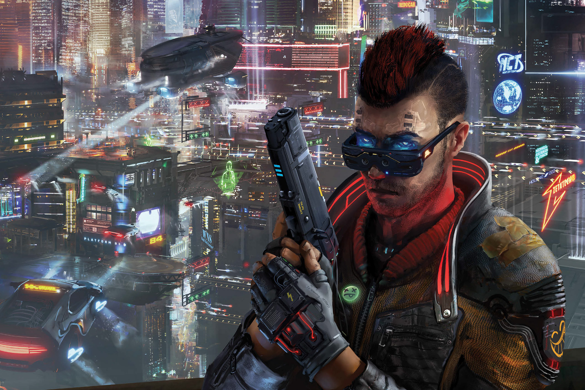 A heavily modified Edgerunner, his eyes glowing with blue LEDs, readies his gun. In the background a heavily armed AV-4 — an airborne gunship from the world of Cyberpunk Red — patrols the streets of Night City.