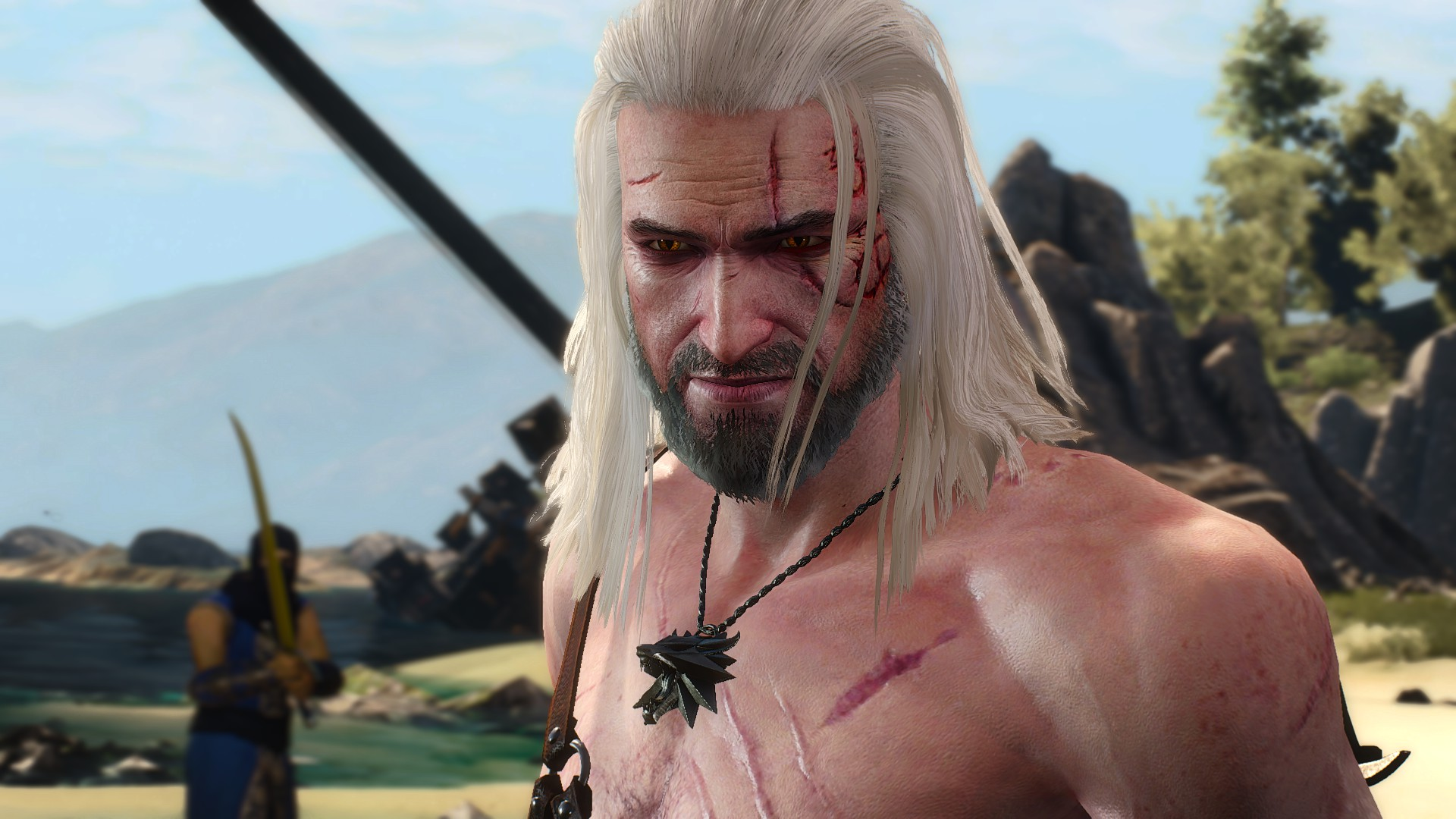a shirtless Geralt in The Witcher 3: Wild Hunt