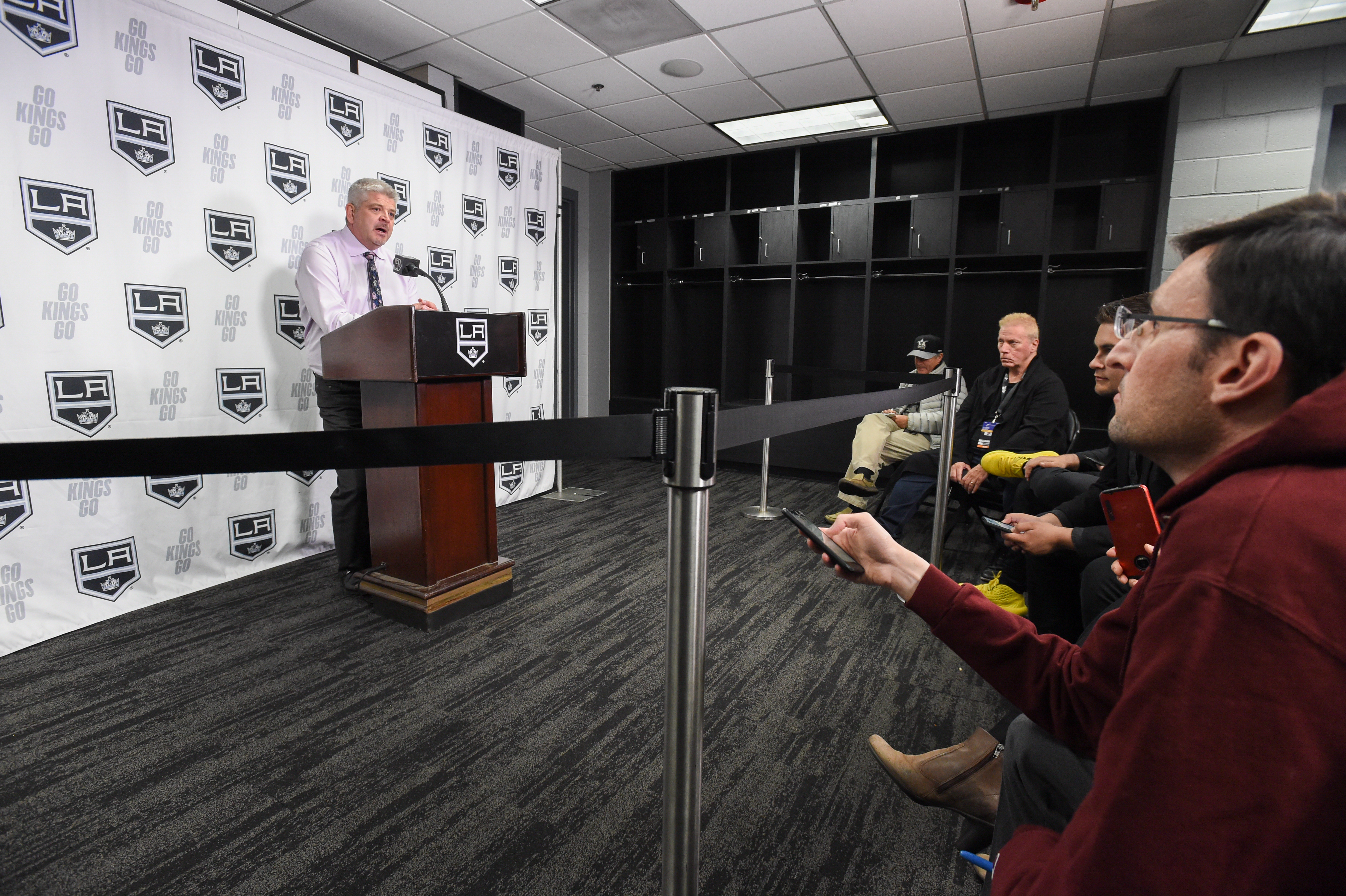 LOS ANGELES, CA - MARCH 11: Los Angeles Kings Head Coach Todd McLellan speaks to the media after their victory against the Ottawa Senators at STAPLES Center on March 11, 2020 in Los Angeles, California.