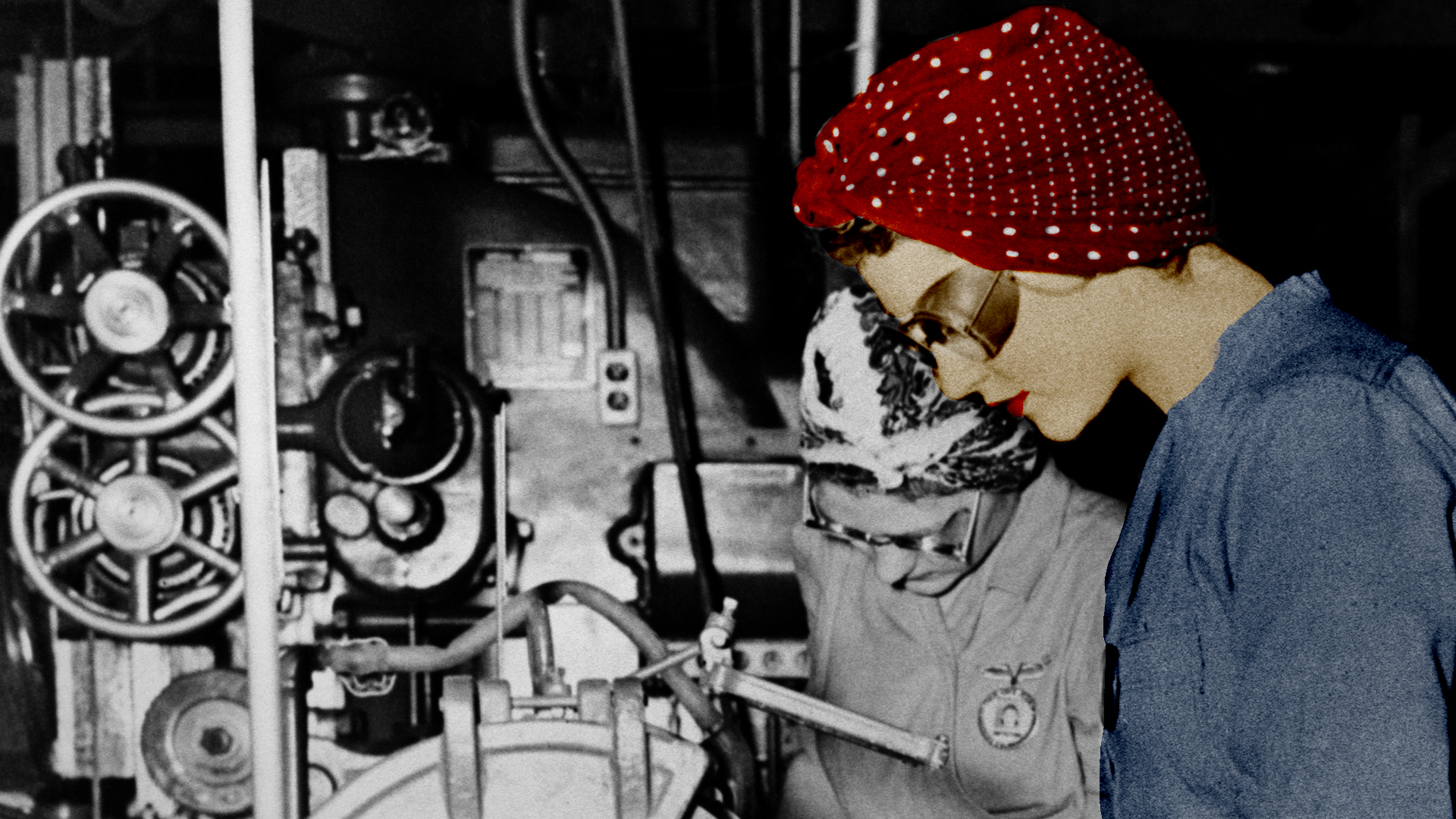 Rosie the riveter at work