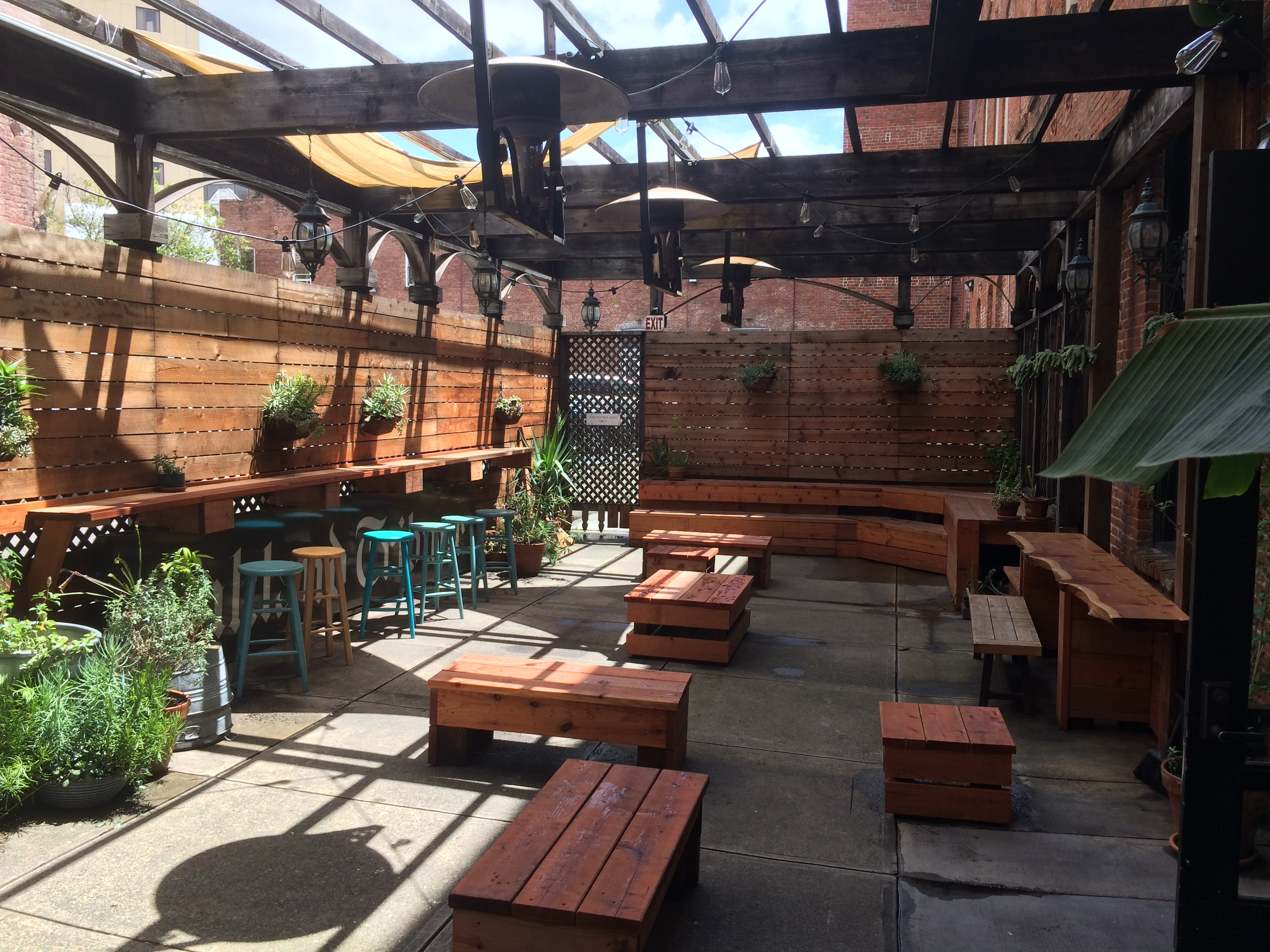 The patio at the Lede