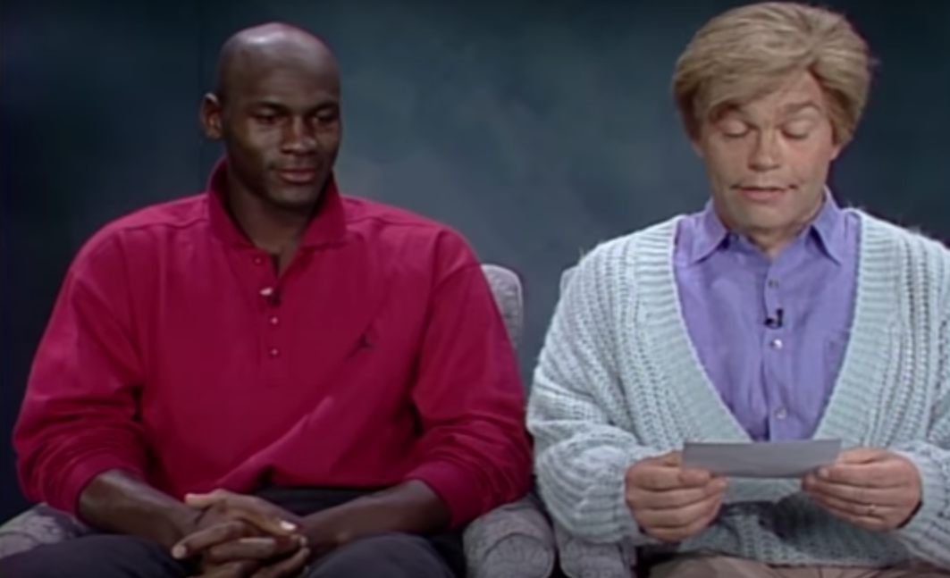 Michael Jordan and Al Franken during a skit from the Sept. 28, 1991, episode of Saturday Night Live.
