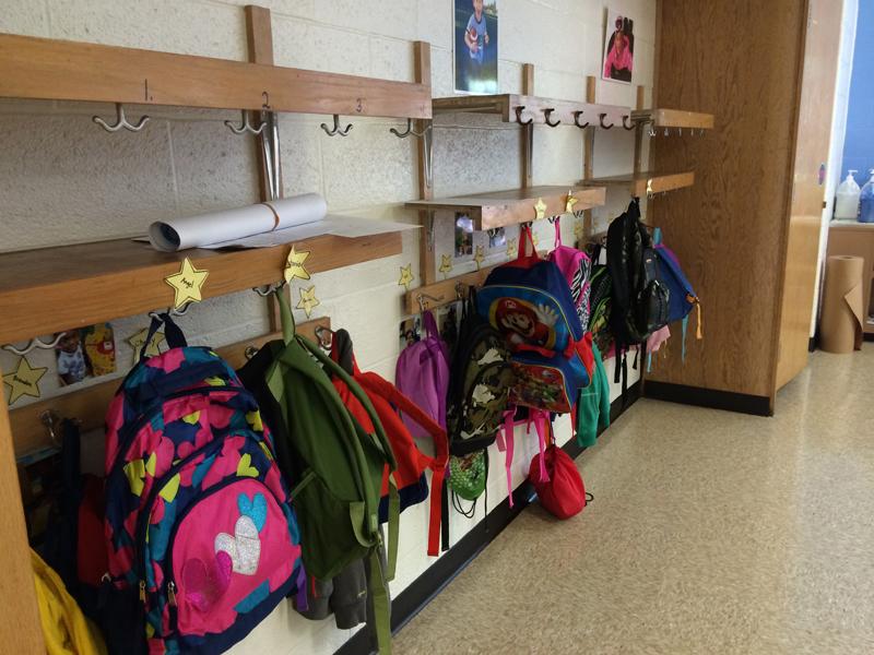 Preschoolers' backpacks at IPS School 102.