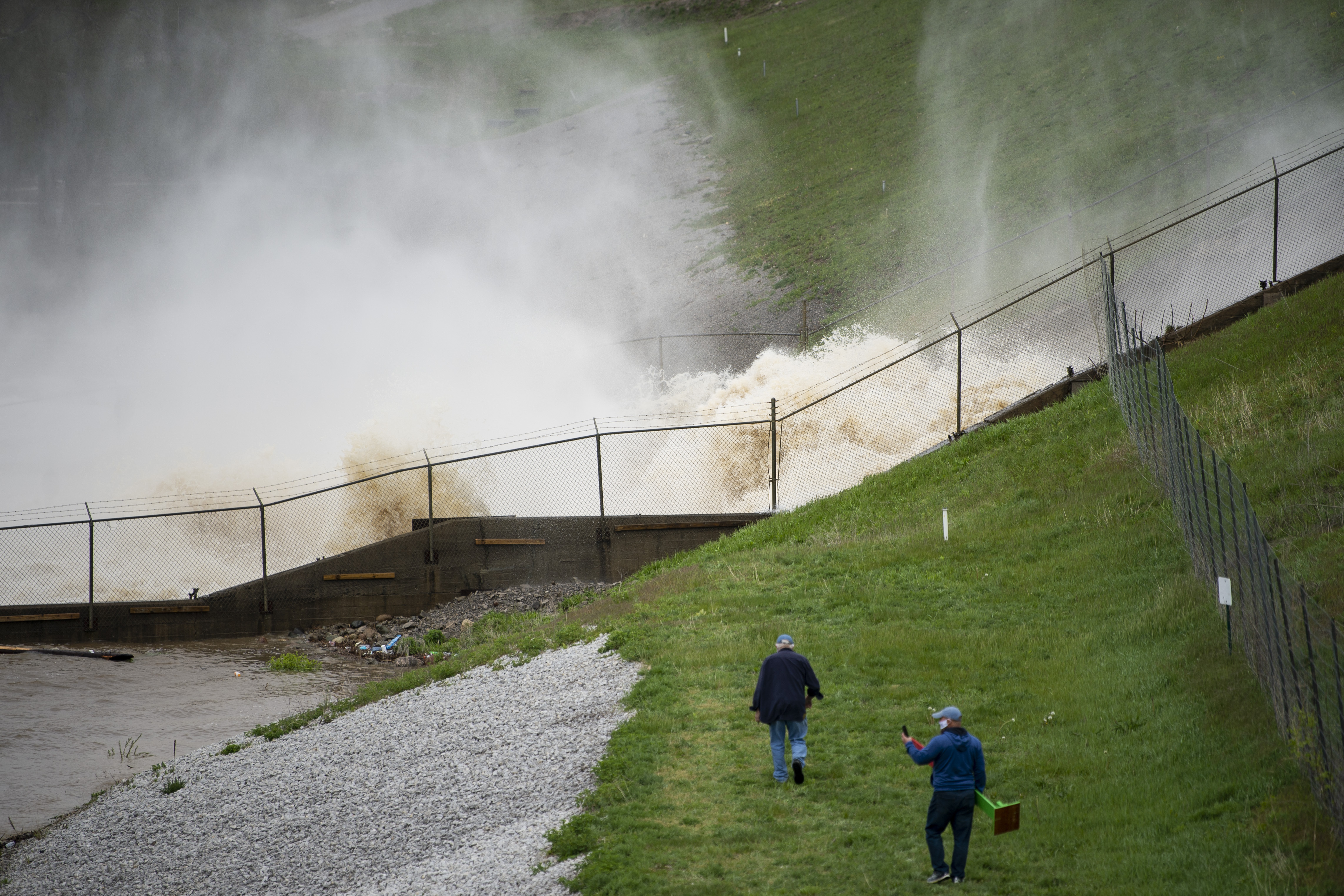 This photo shows a view of a dam on Wixom Lake in Edenville, Mich., Tuesday, May 19, 2020