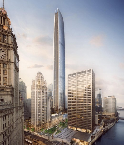 A rendering of the proposed new tower east of landmark Tribune Tower.