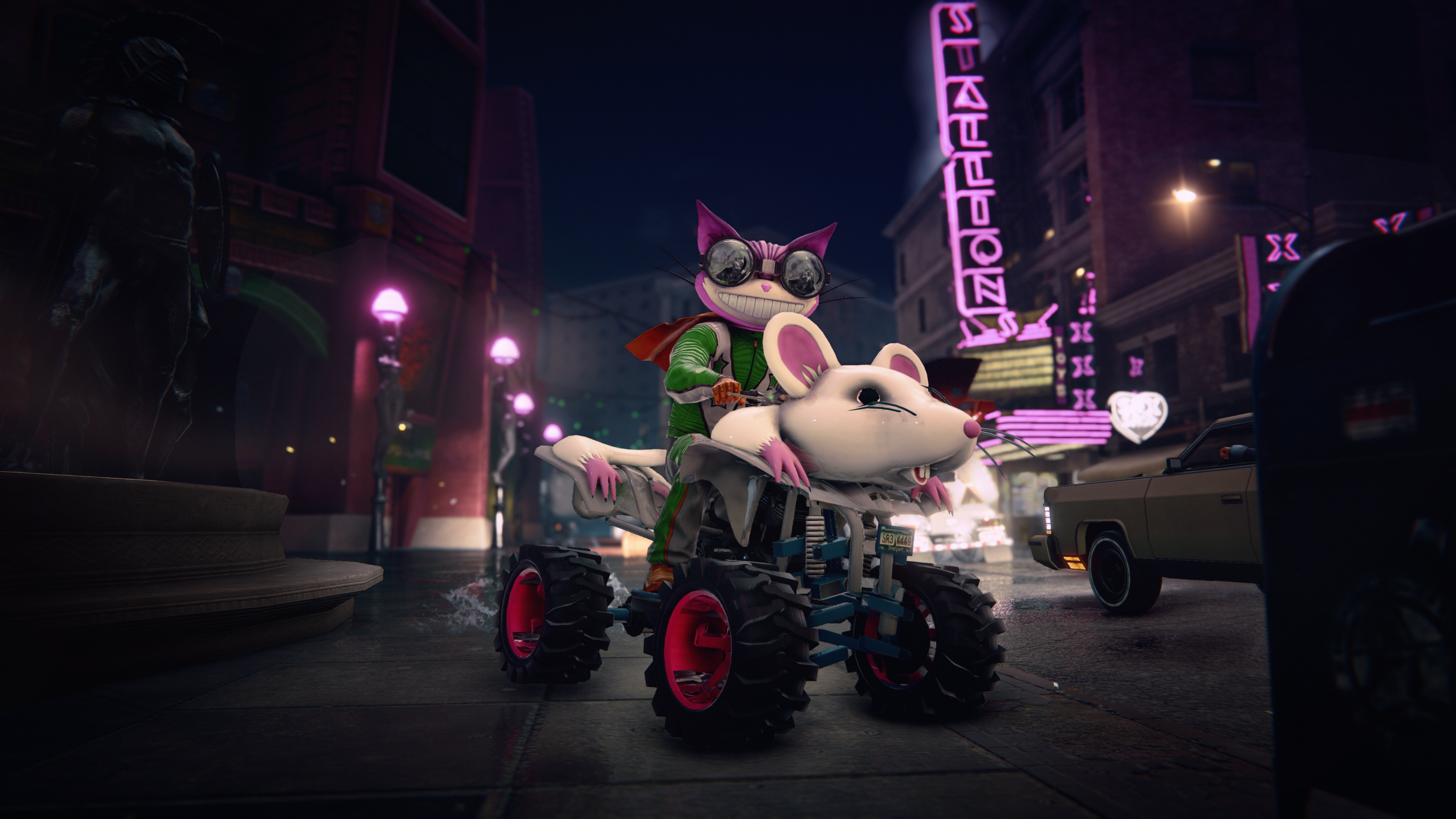 a menacing-looking kitty riding a mouse-themed ATV in Saints Row: The Third Remastered