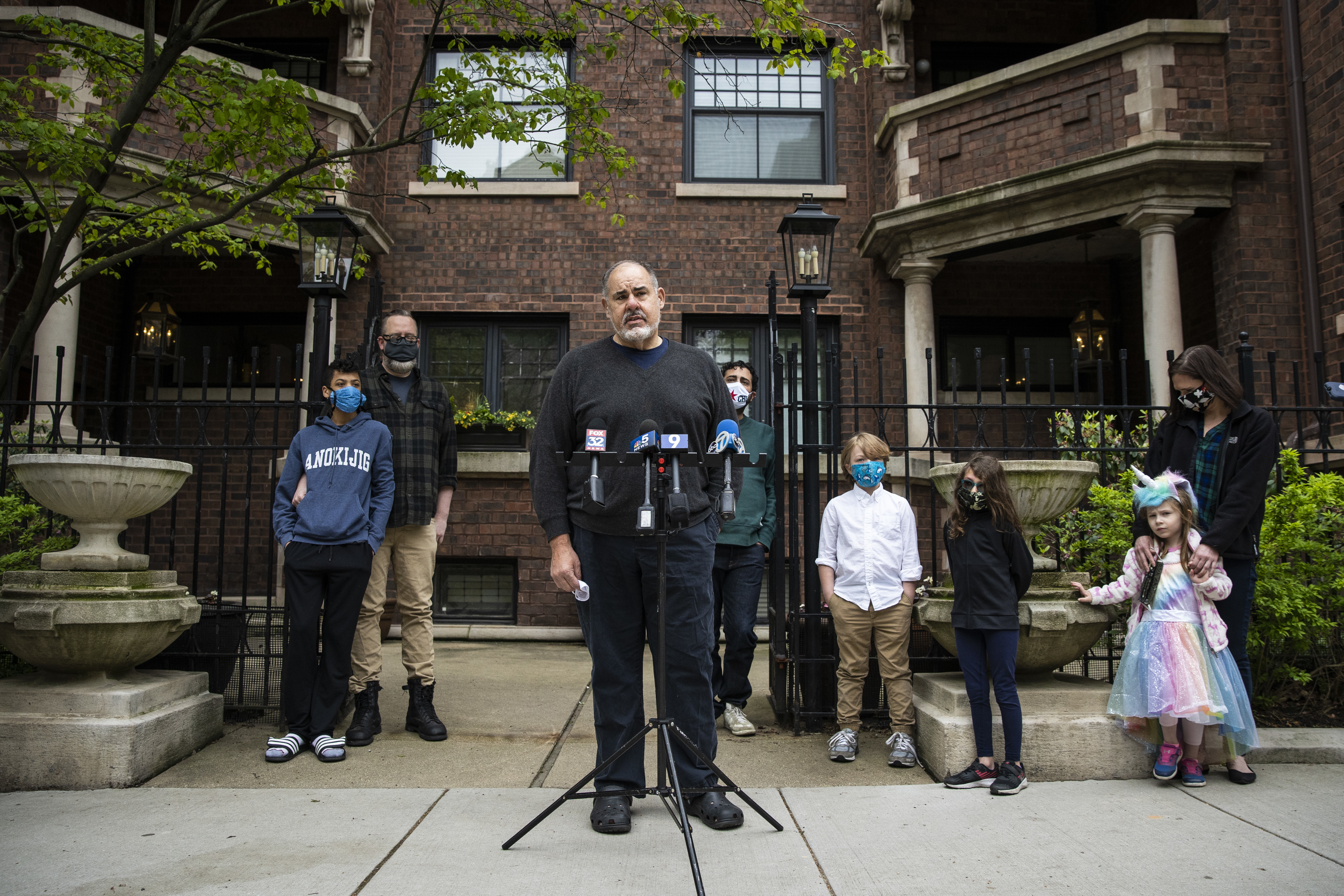 "Condo owner Jerry Savoy speaks during a press conference about a lawsuit he and his neighbors filed against Francis W. Parker School for allegedly carrying out a ""covert scheme"" to take control of their building in the 300 block of West Belden Avenue in Lincoln Park, Thursday morning, May 20, 2020."