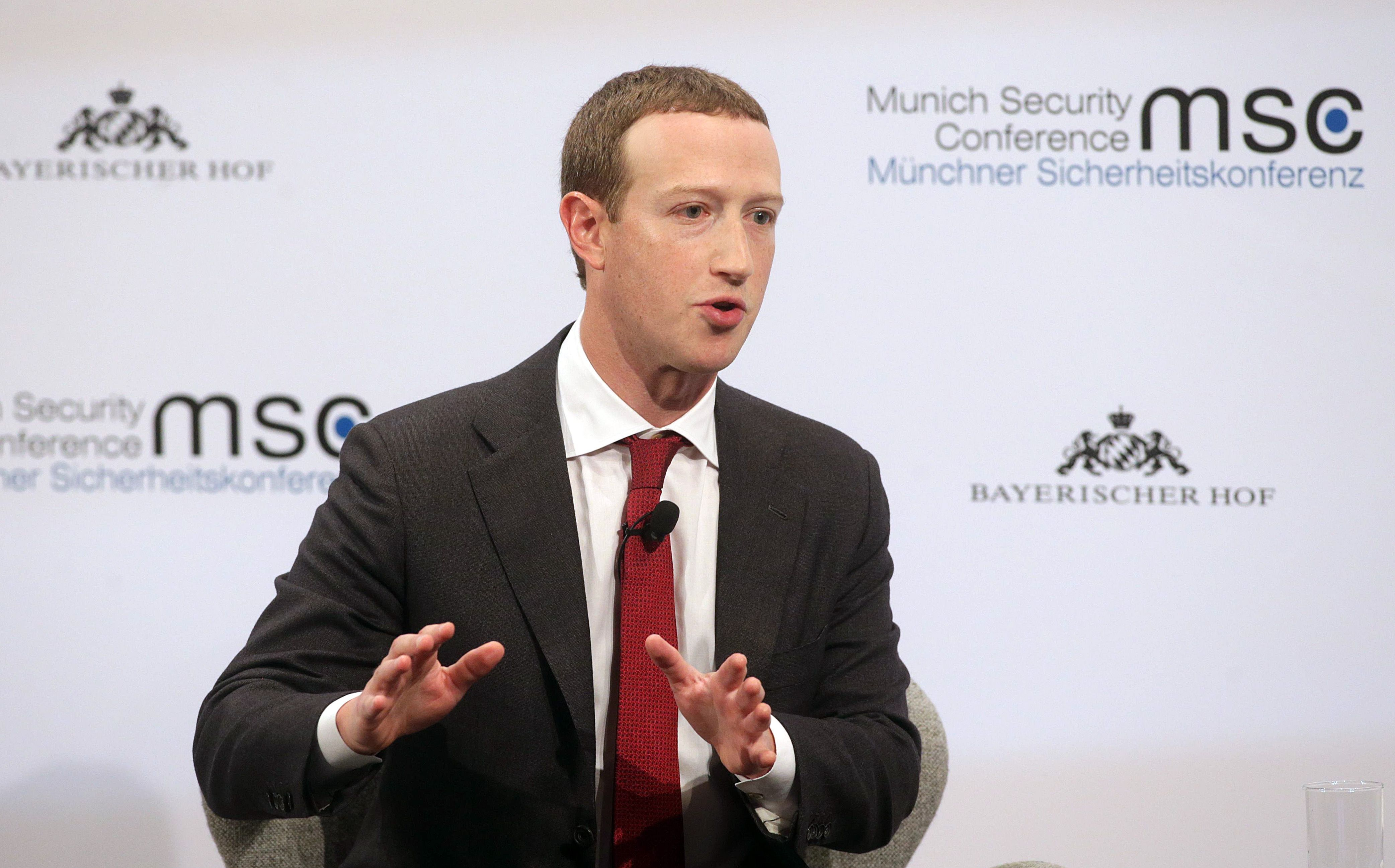 Facebook CEO Mark Zuckerberg speaking at a conference in Munich, Germany, February 2020.