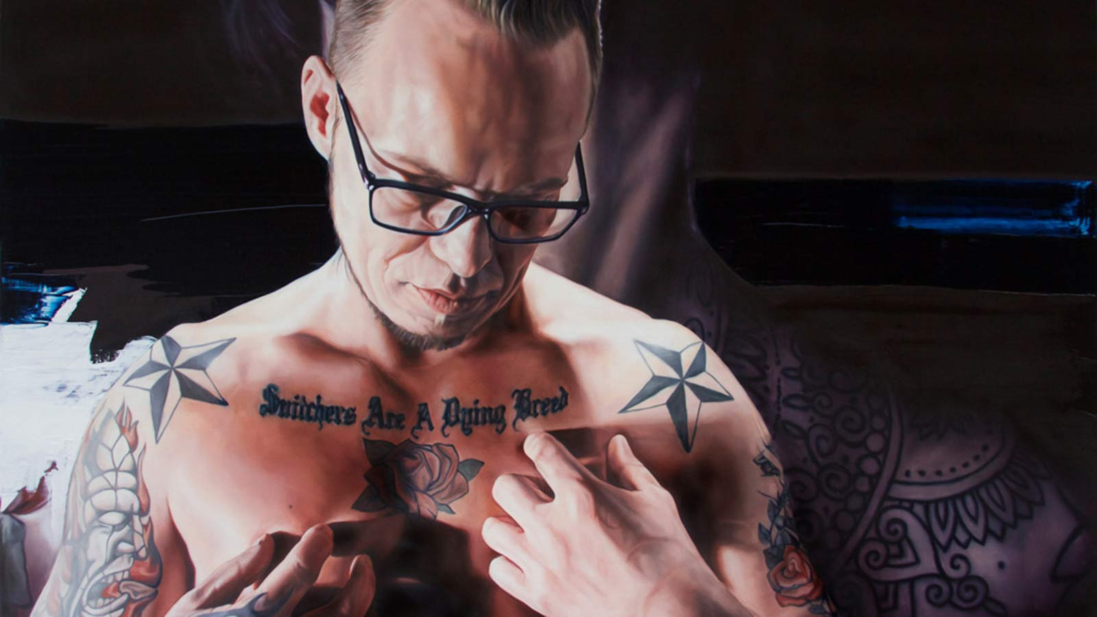 A painting of a heavily tattooed man.