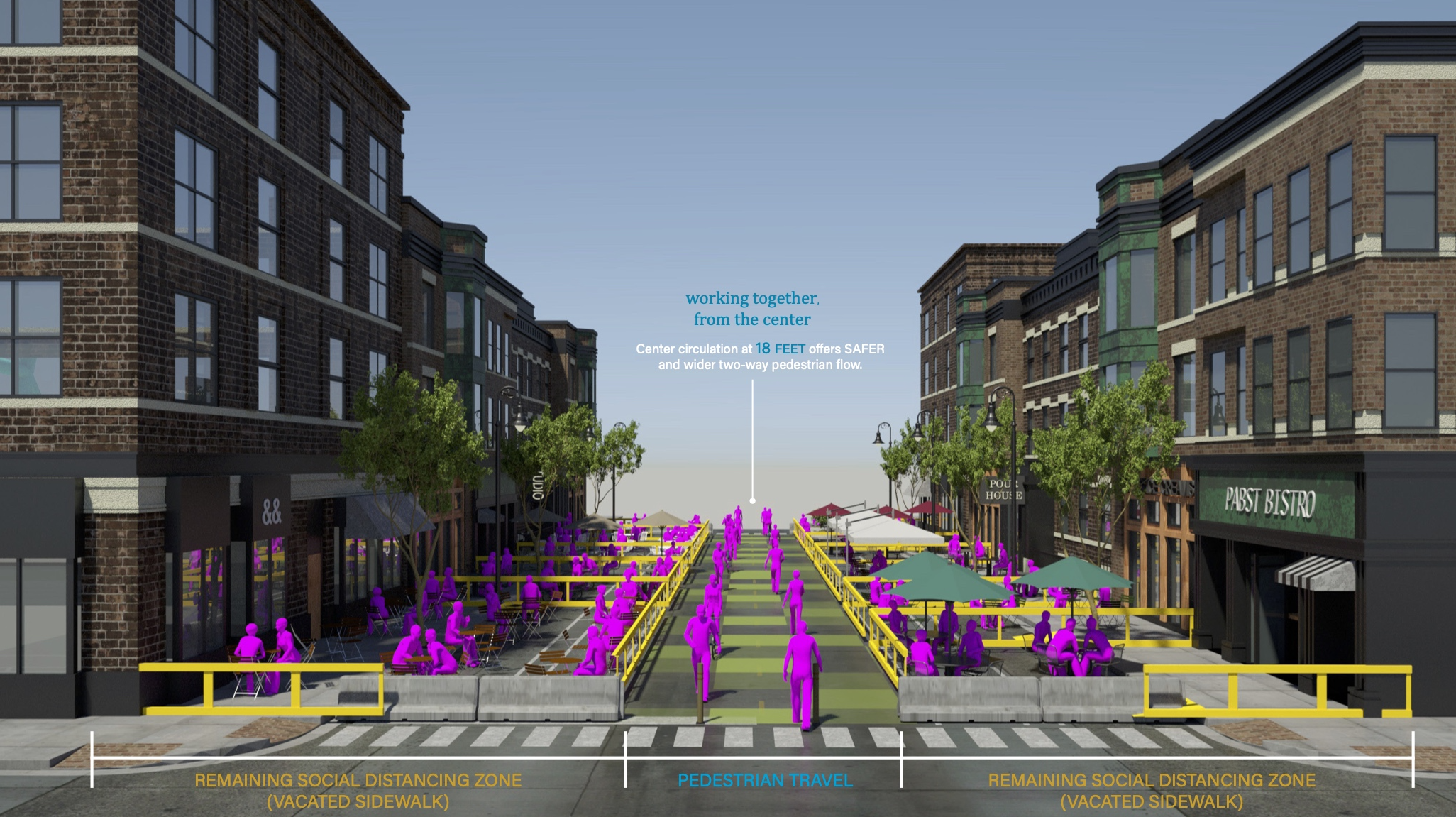 A CGI rendering of what outdoor dining could look like, with pink pedestrian walking in the middle of a street.