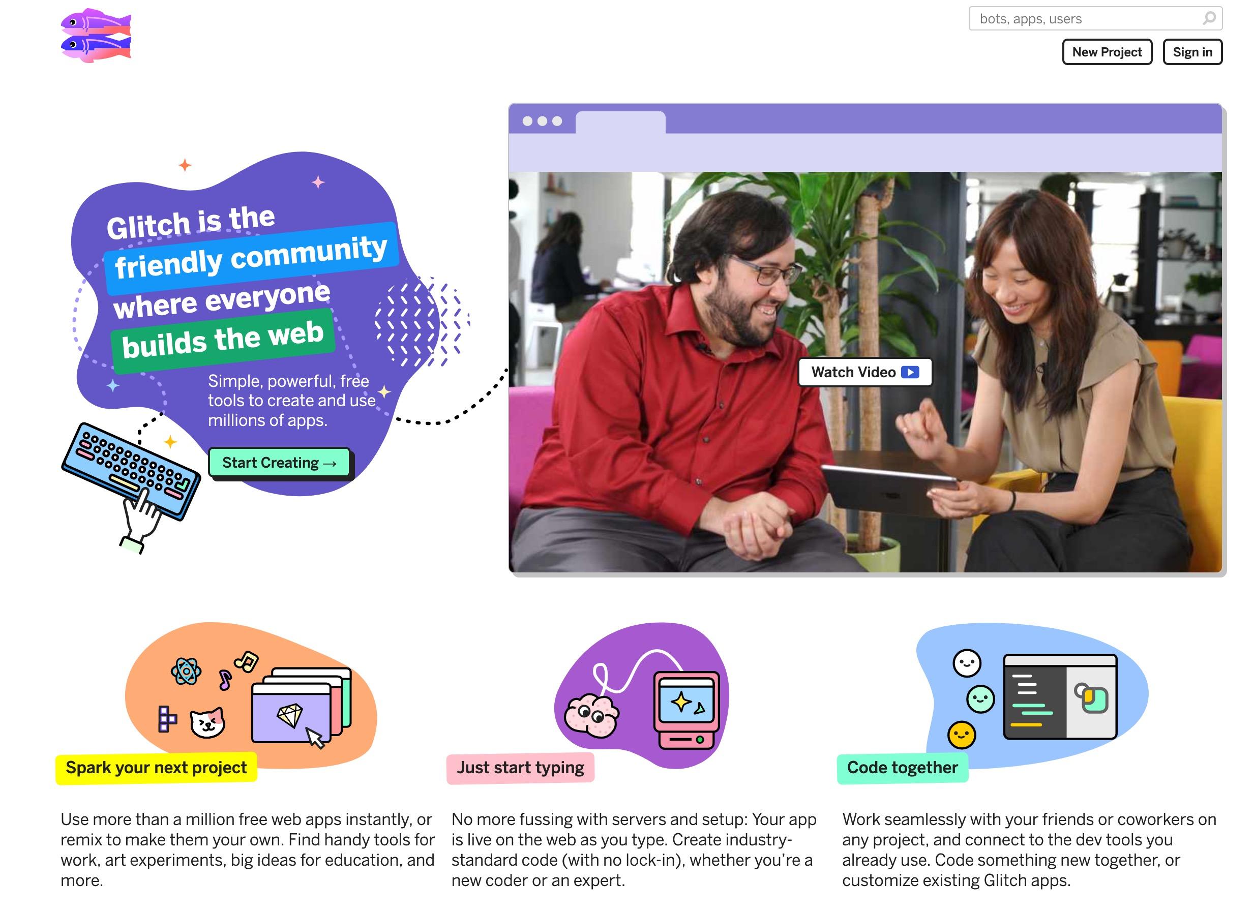 Glitch.com in July 2019