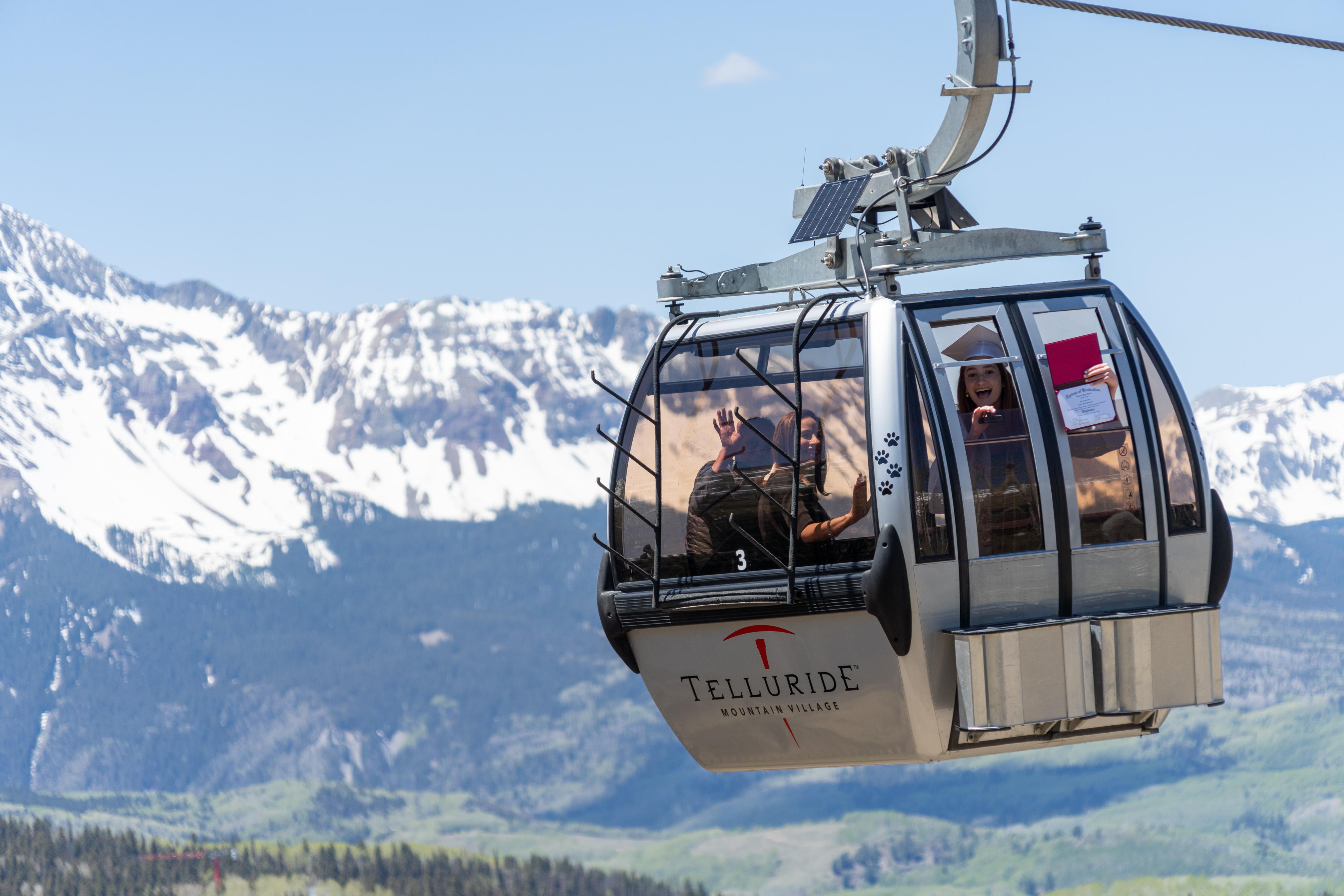 Telluride High School seniors took gondolas to pick up their diplomas.