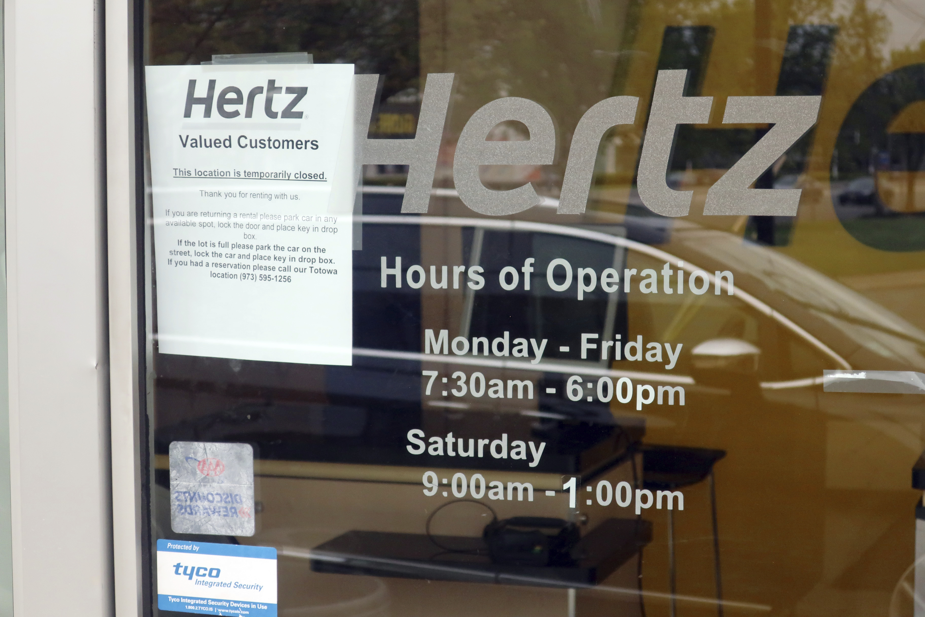 A Hertz Car Rental location in New Jersey, closed during the coronavirus pandemic.