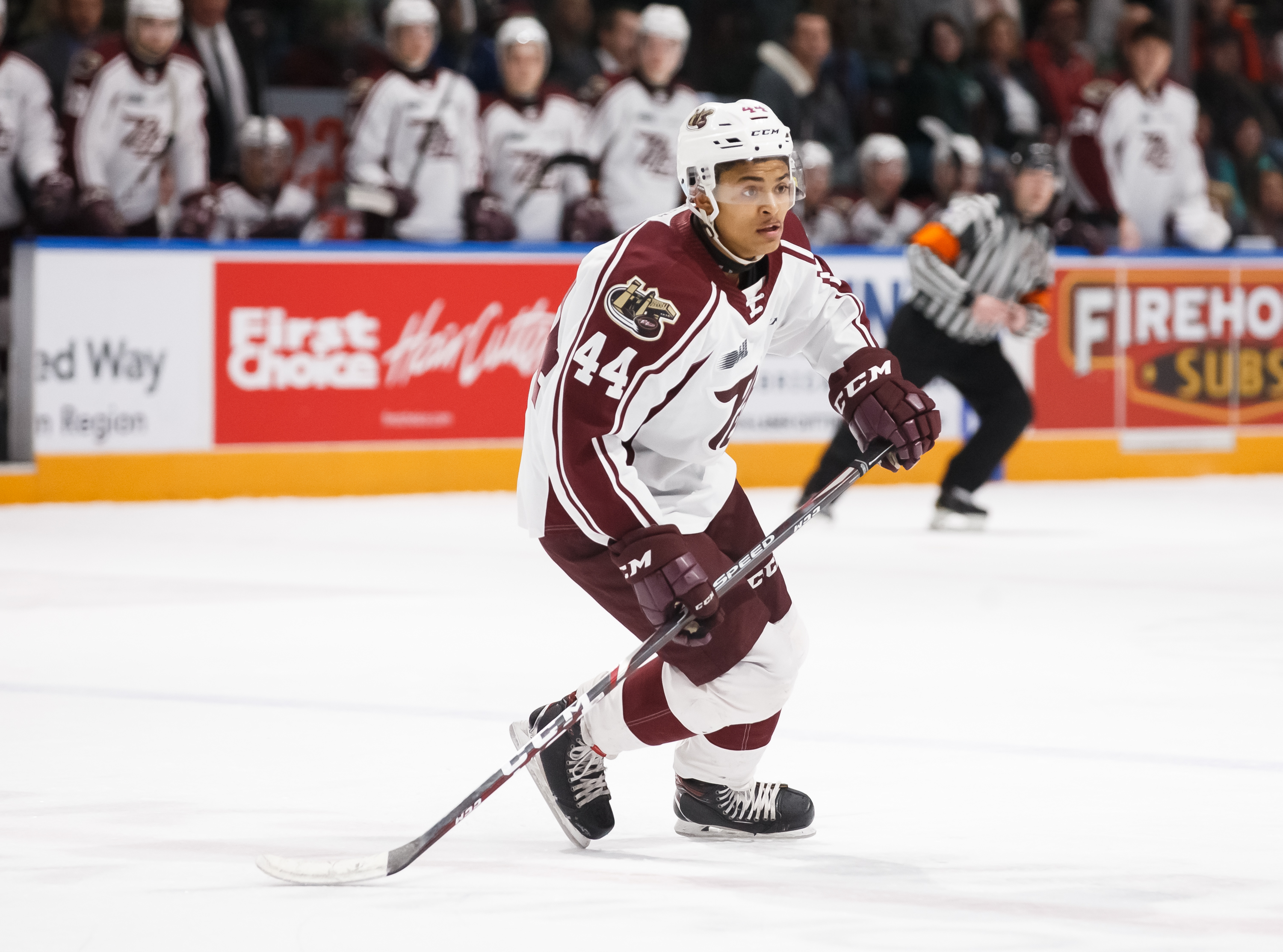 OSHAWA, ON - JANUARY 31: Akil Thomas #44 of the Peterborough Petes skates during an OHL game against the Oshawa General at the Tribute Communities Centre on January 31, 2020 in Oshawa, Ontario, Canada.