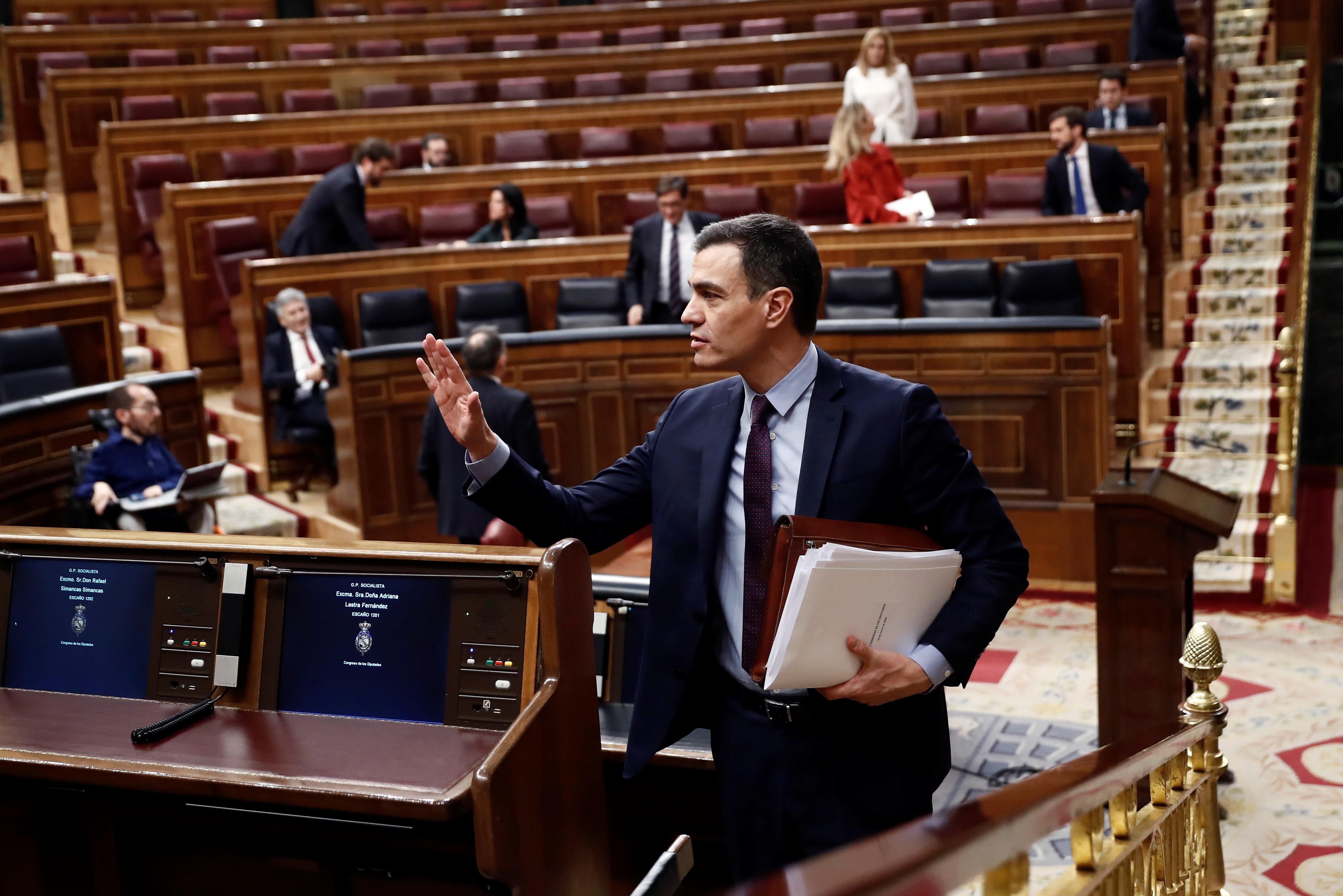 Pedro Sanchez Explains The Alarm State At Parliament