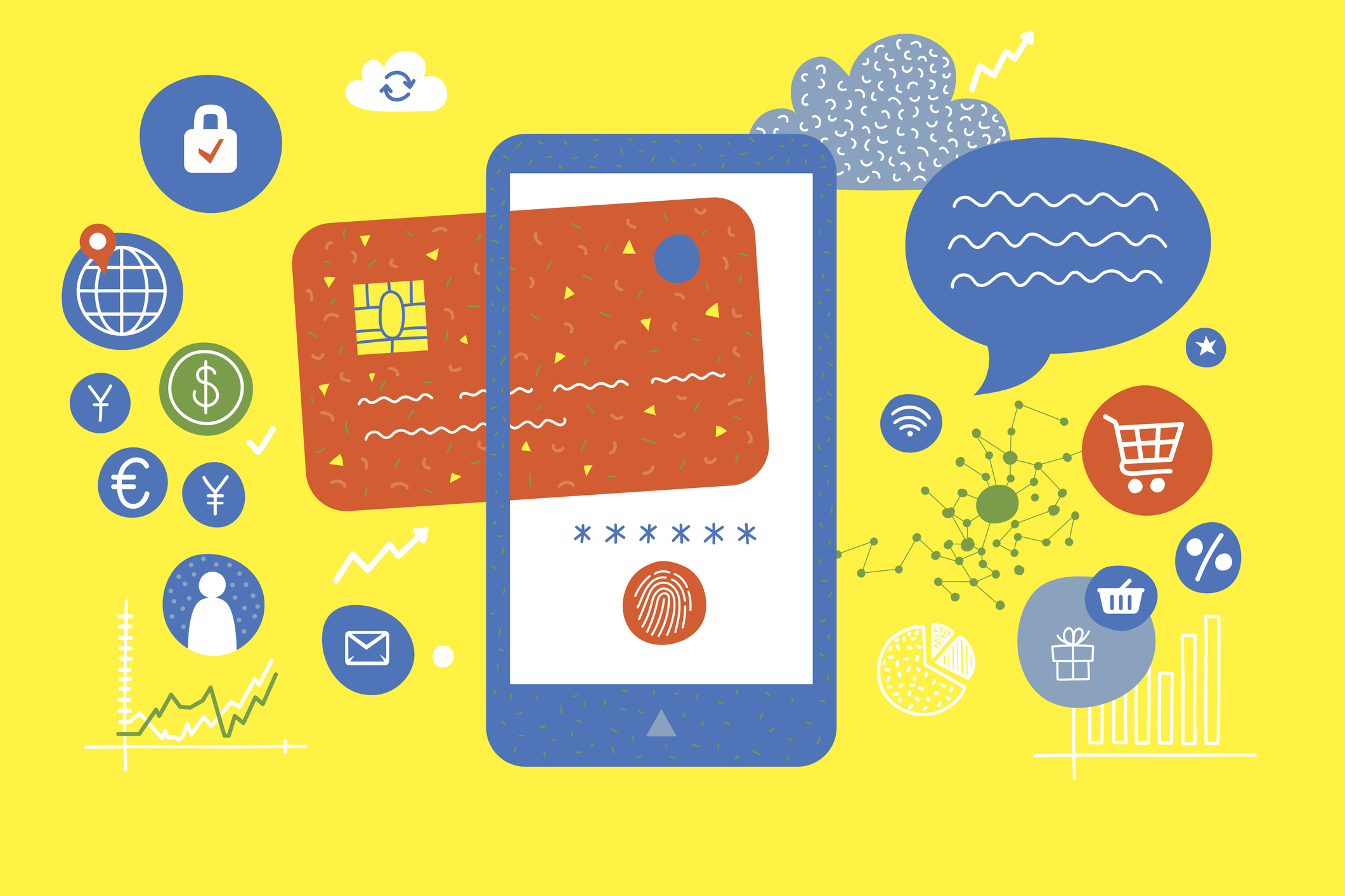 An abstract illustration of a phone with a credit card and various icons for shopping and travel.