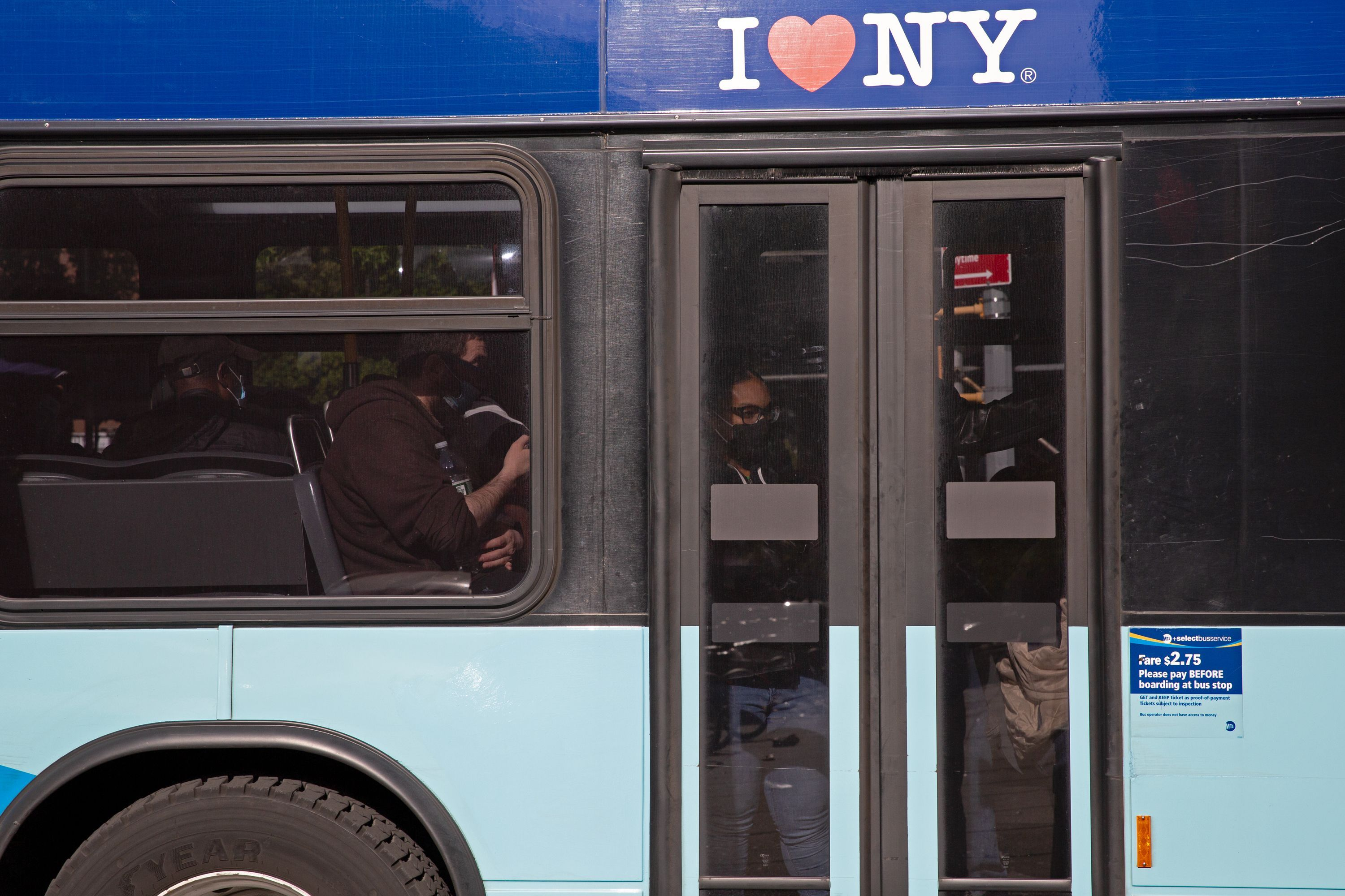 Riders were packed onto an MTA bus in Brooklyn during the coronavirus outbreak.