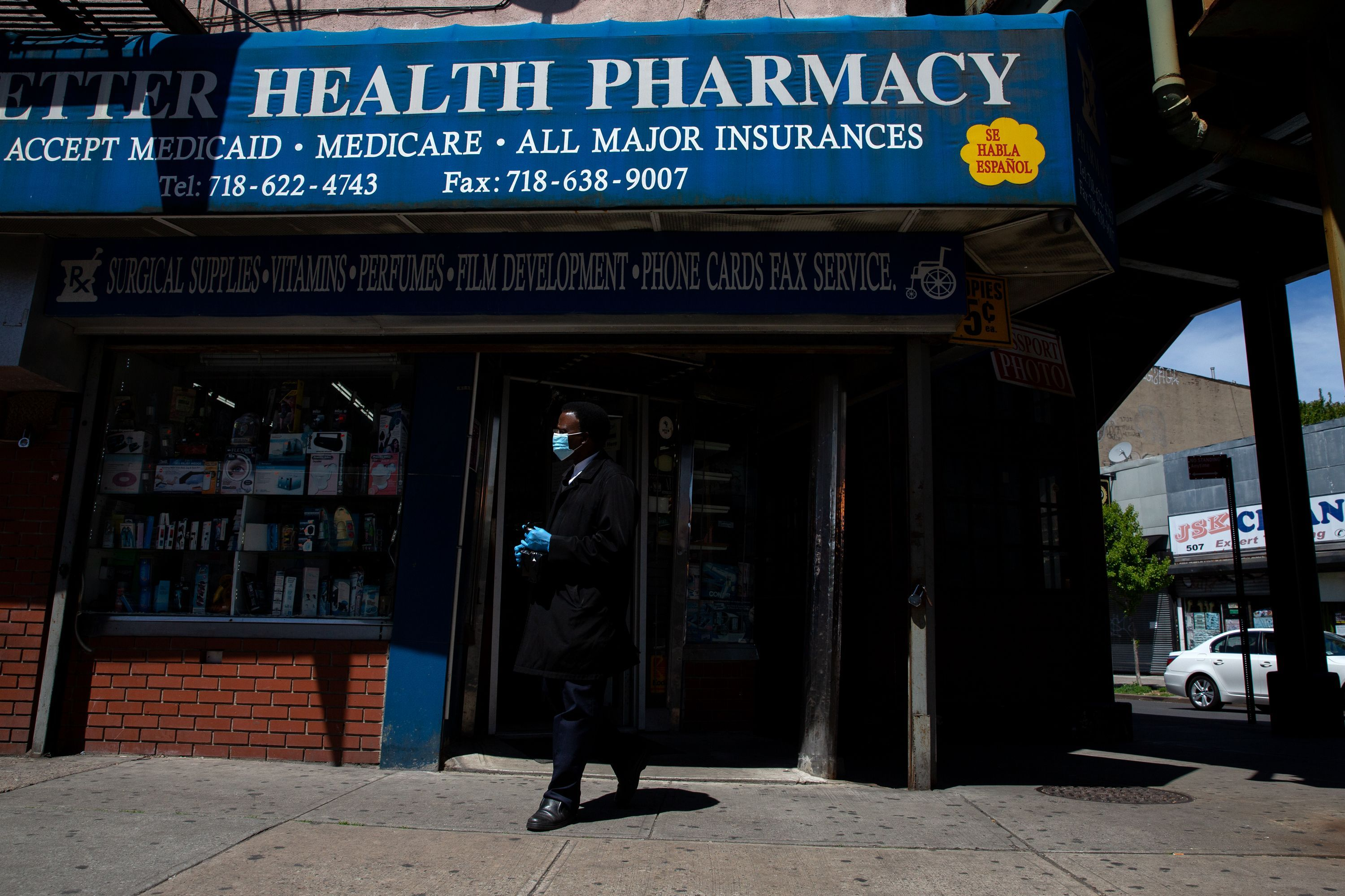 A Bed-Stuy, Brooklyn pharmacy stays open during the coronavirus outbreak, May 20, 2020.