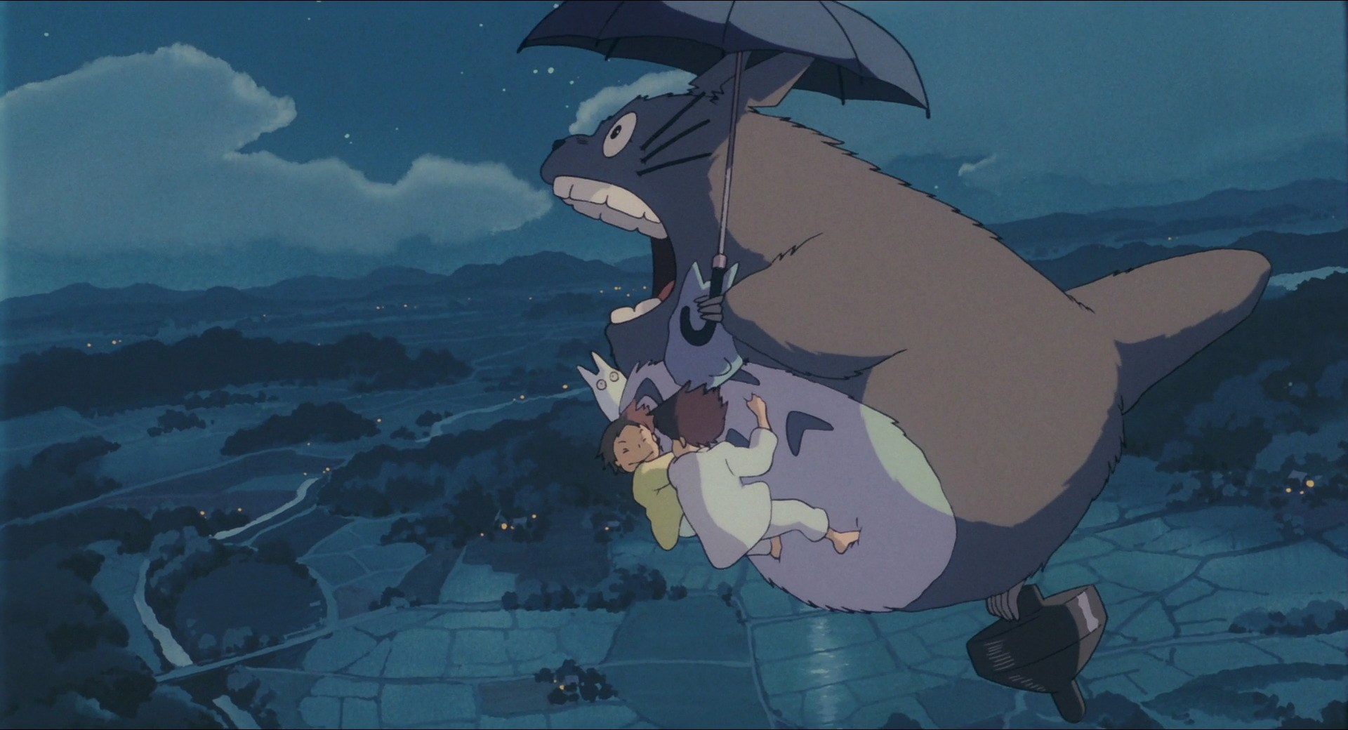 Totoro flies in the sky in My Neighbor Totoro