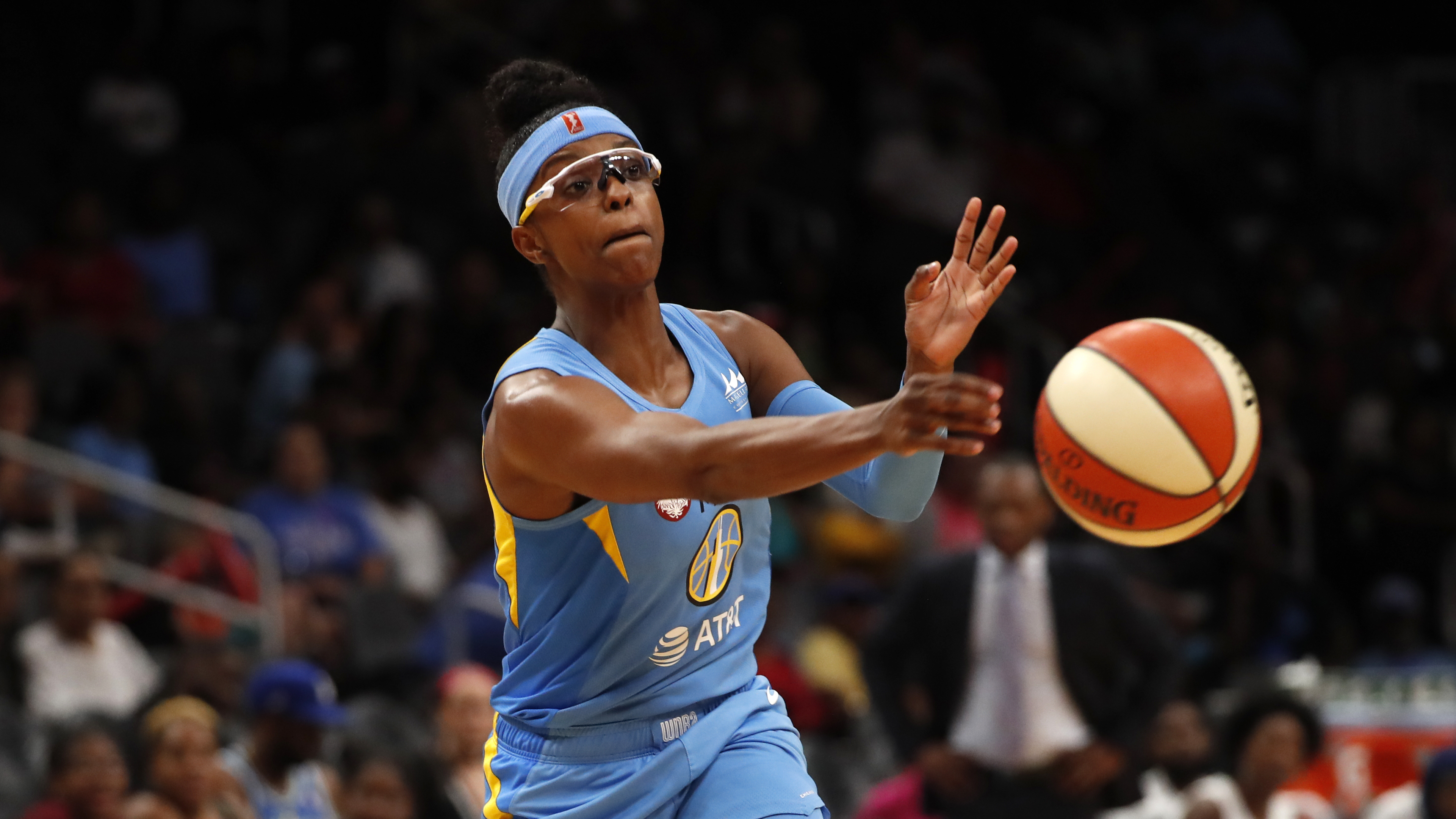 Chicago Sky guard Diamond DeShields passes the ball in the second half of a WNBA basketball game against the Atlanta Dream Tuesday, Aug. 20, 2019, in Atlanta.