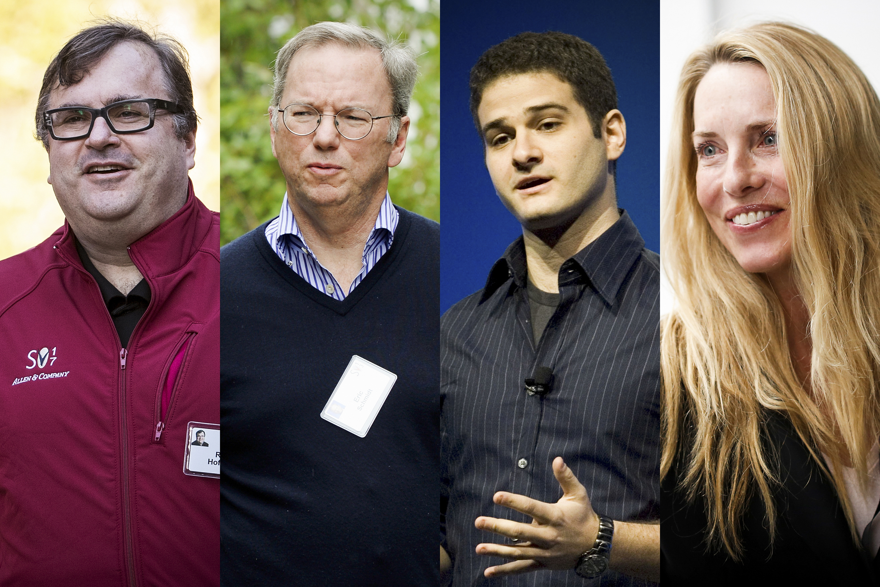 Photos of Reid Hoffman, Eric Schmidt, Dustin Moskovitz, and Laurene Powell Jobs.